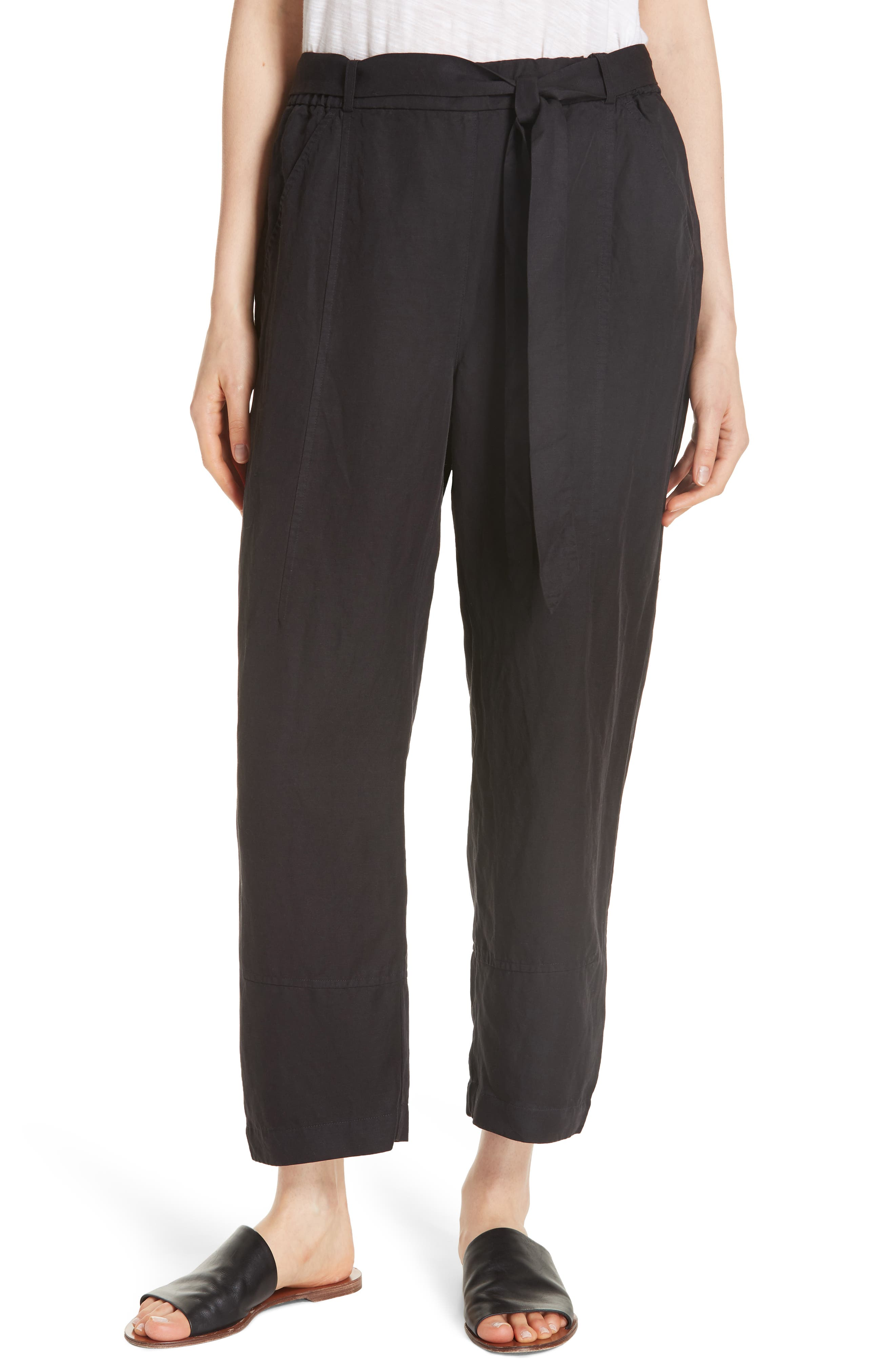 EILEEN FISHER, Lantern Twill Ankle Pants, Main thumbnail 1, color, 001