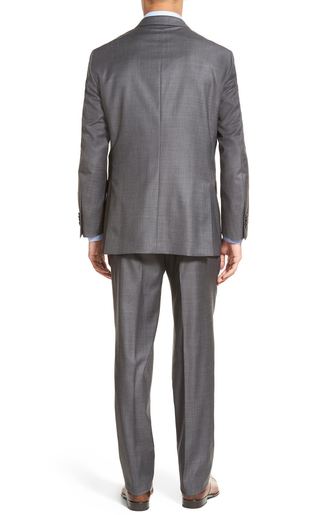 PETER MILLAR, Classic Fit Solid Wool Suit, Alternate thumbnail 4, color, CHARCOAL
