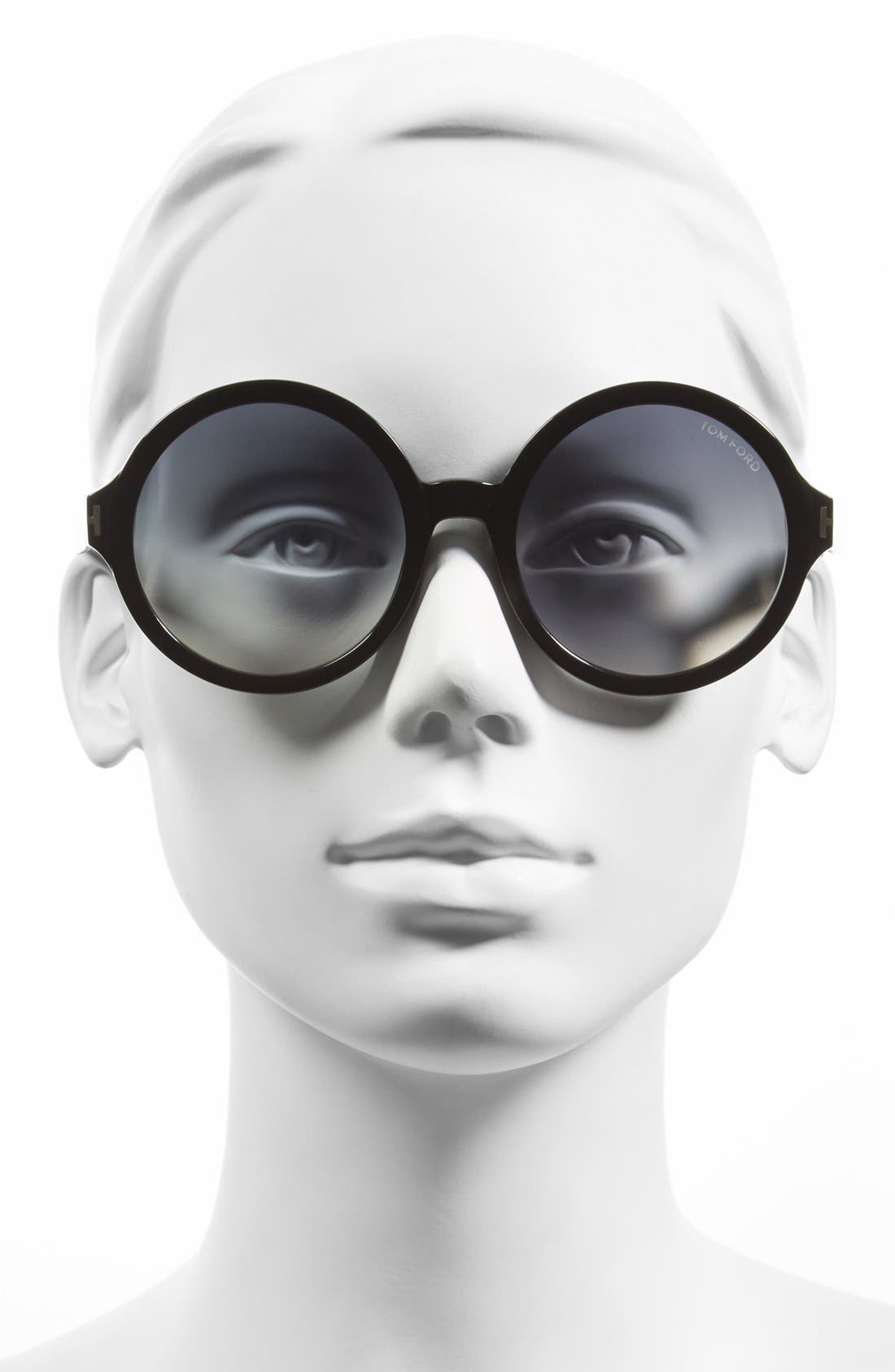 TOM FORD, 'Juliet' 55mm Round Glasses, Main thumbnail 1, color, 001