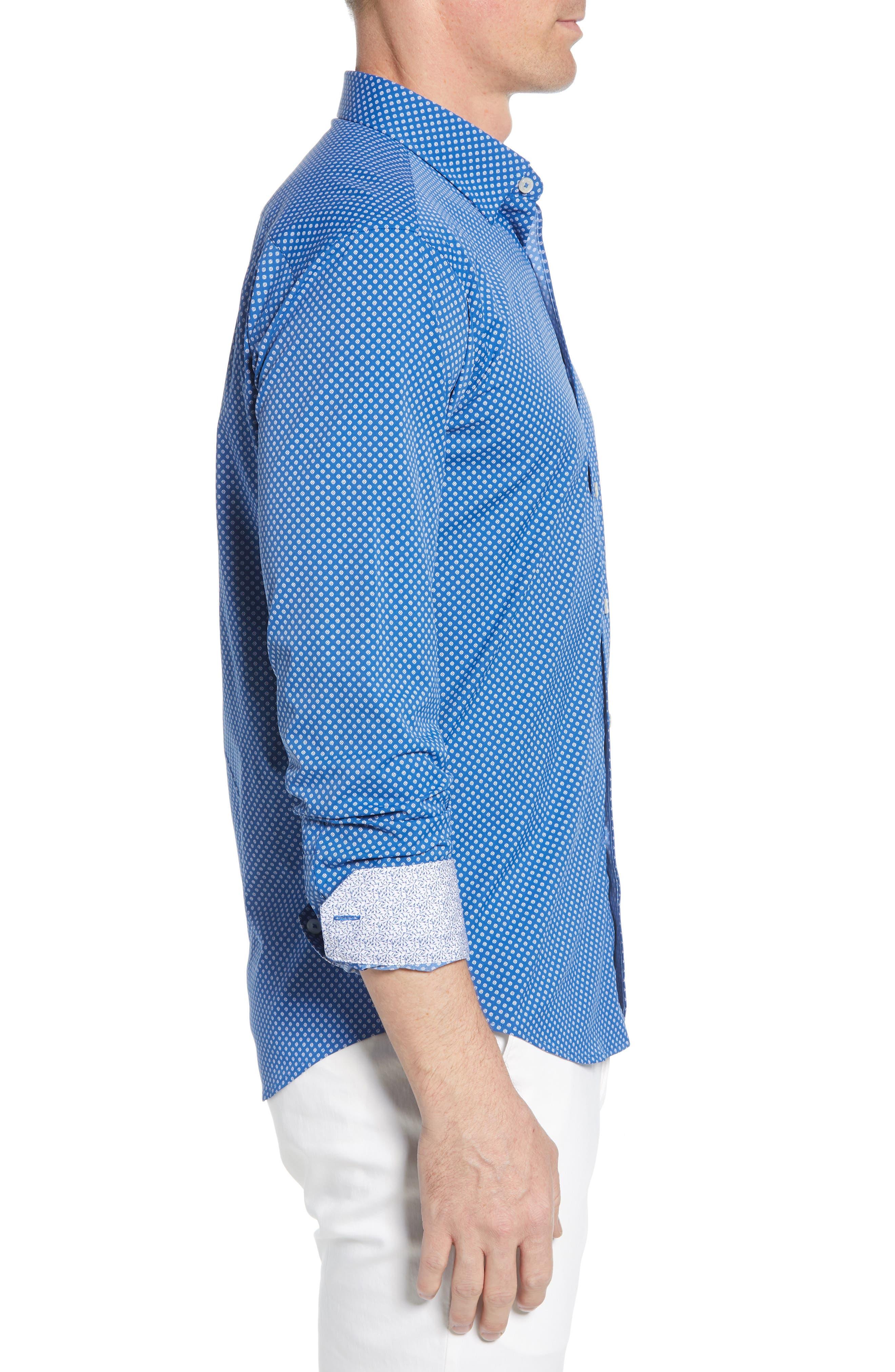 BUGATCHI, Shaped Fit Print Performance Sport Shirt, Alternate thumbnail 4, color, NAVY