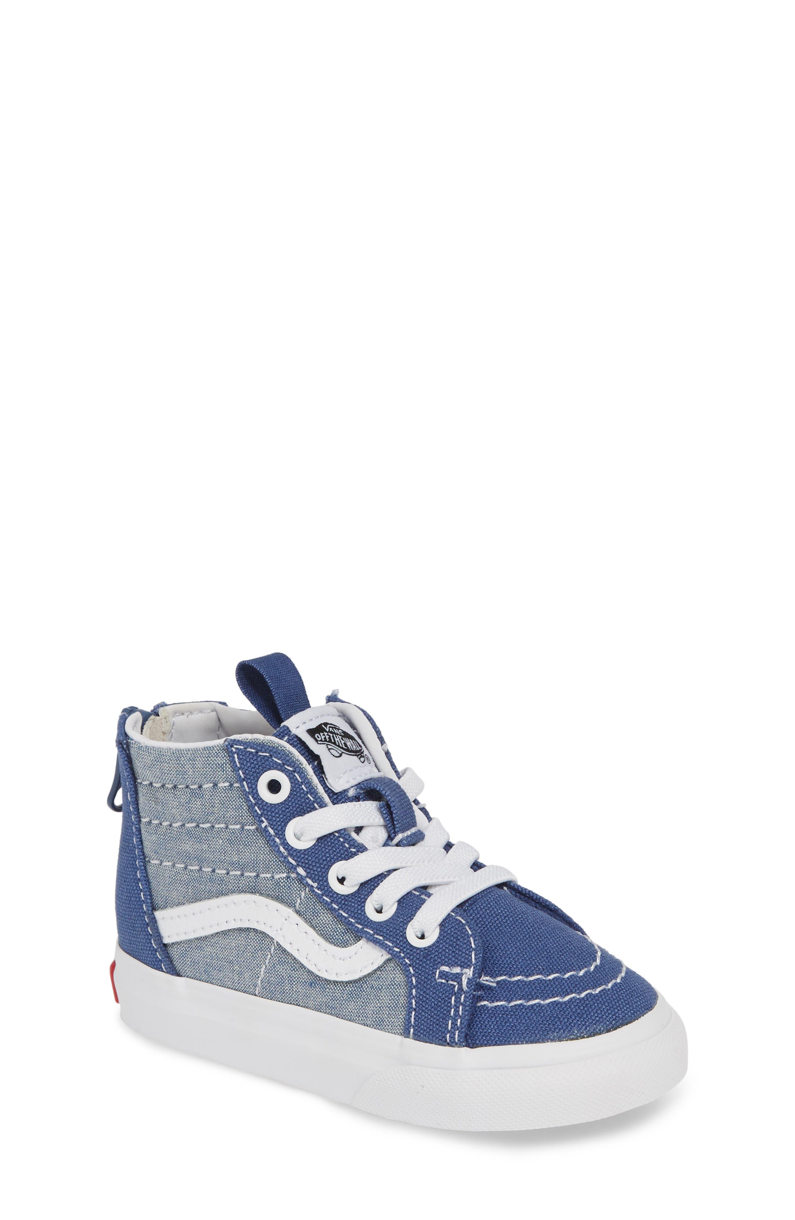 VANS, 'Sk8-Hi' Sneaker, Main thumbnail 1, color, CHAMBRAY CANVAS NAVY/ WHITE