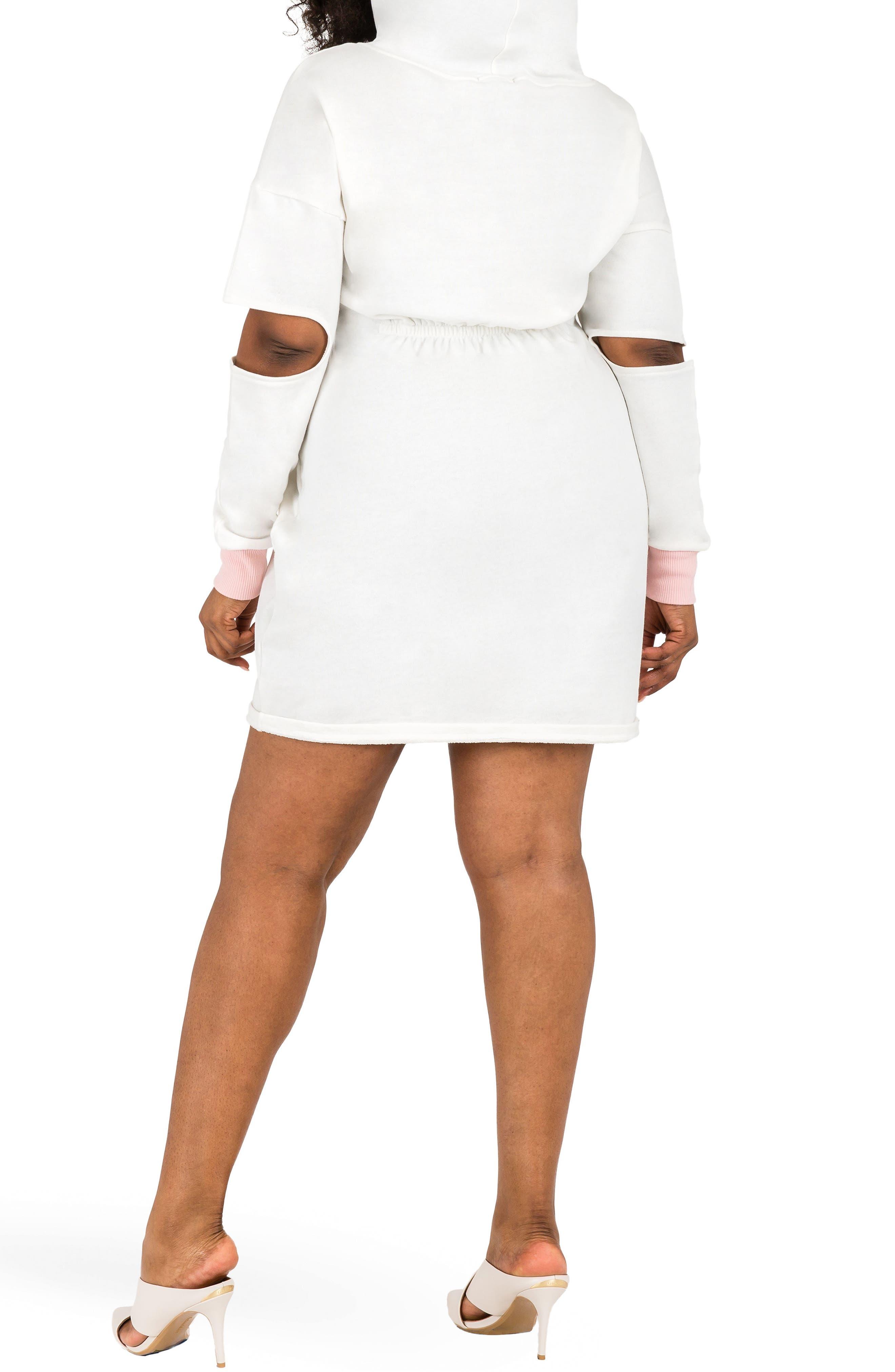 POETIC JUSTICE, Cylene Hoodie Dress, Alternate thumbnail 2, color, QUARTZ WHITE