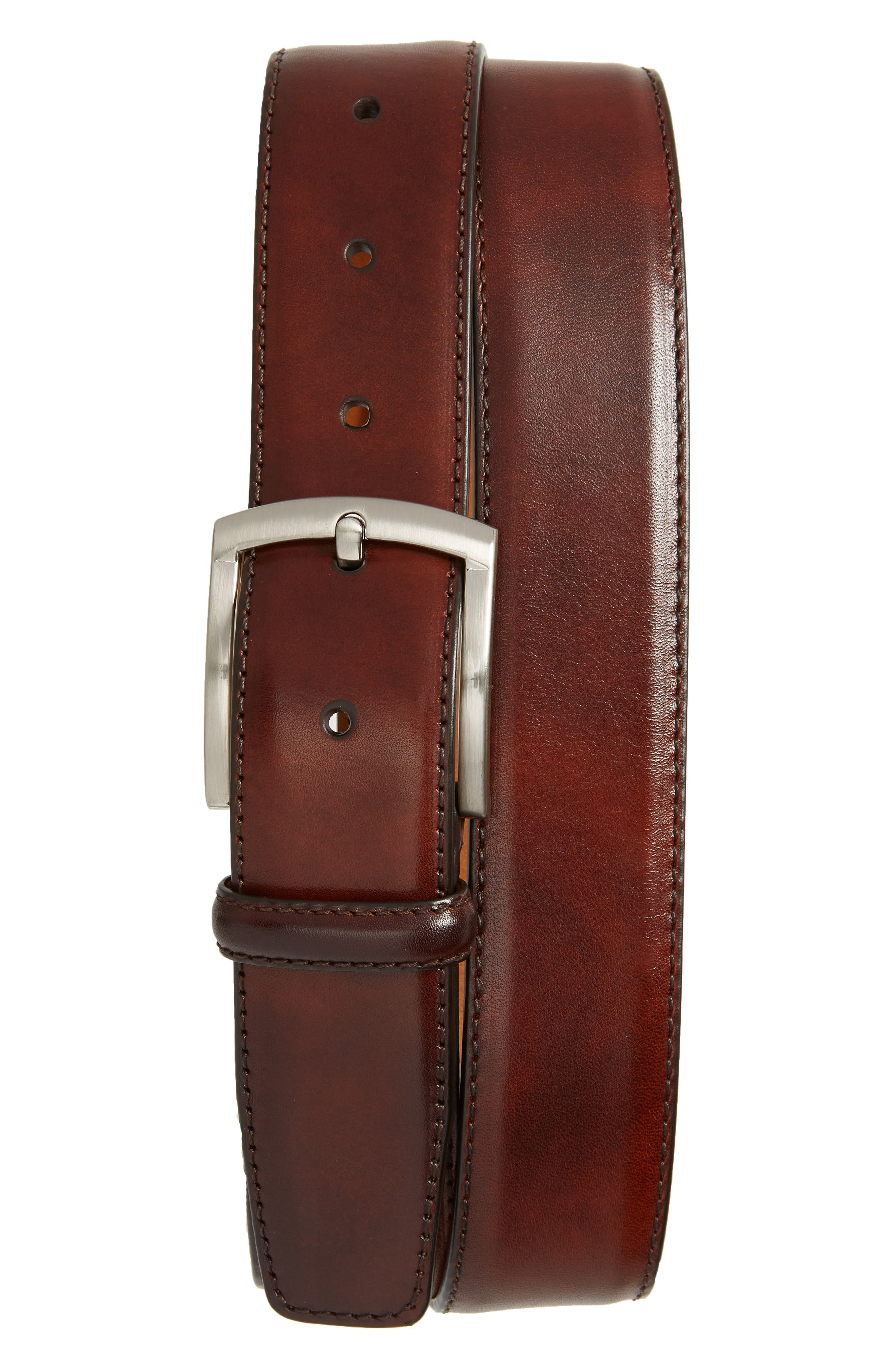 MAGNANNI, Tanner Leather Belt, Main thumbnail 1, color, TOBACCO