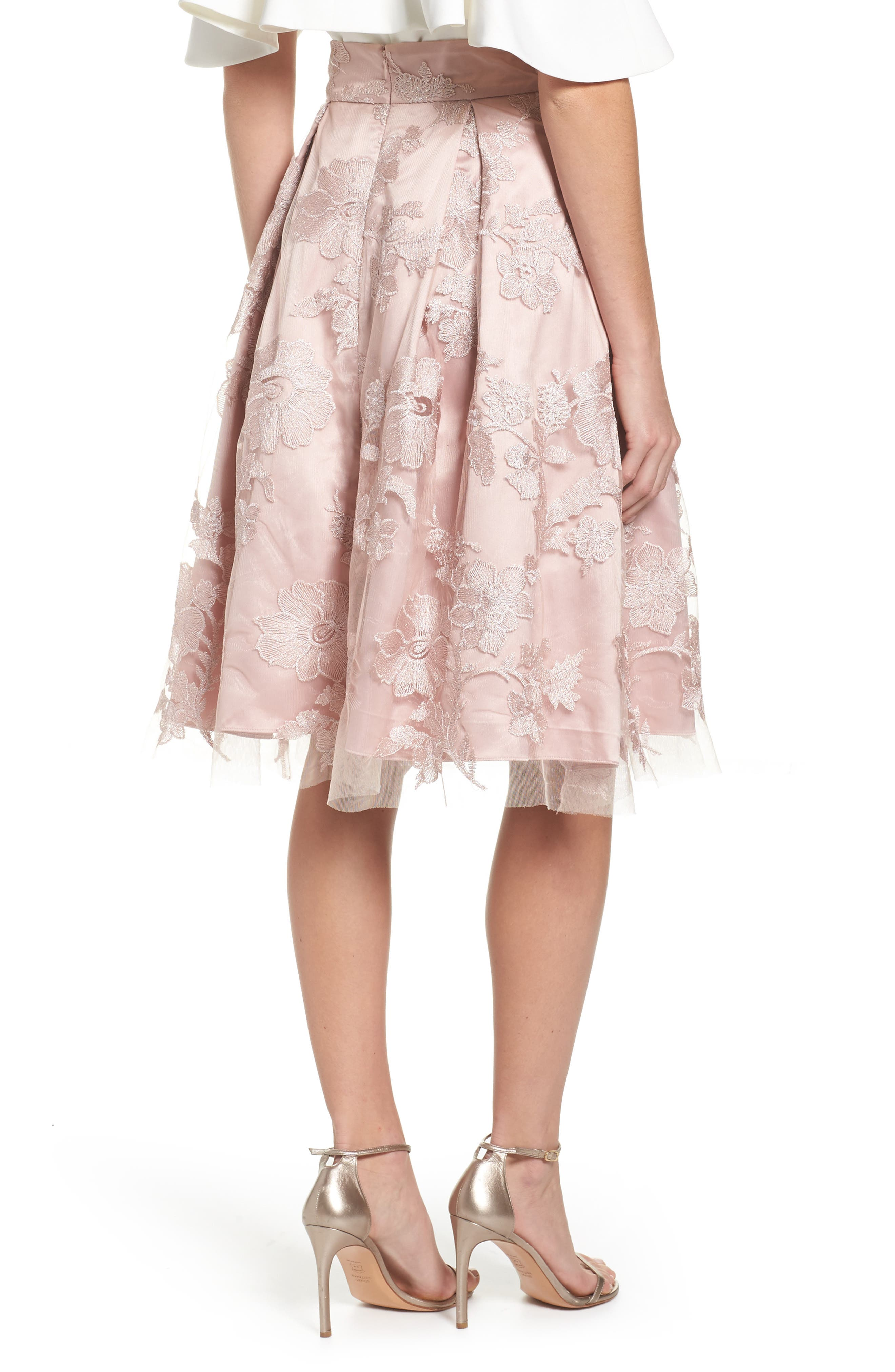 ELIZA J, Floral Embroidered Skirt, Alternate thumbnail 2, color, 254