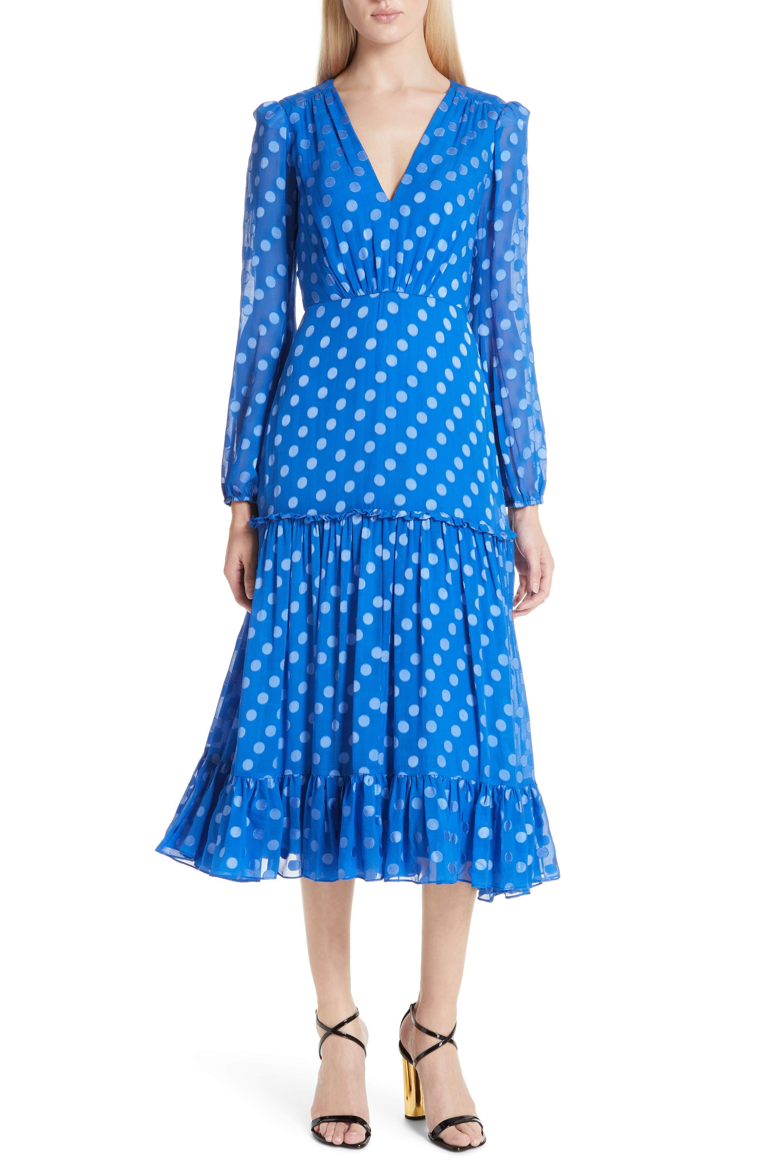 SALONI, Polka Dot Ruffle Dress, Alternate thumbnail 5, color, COBALT BLUE