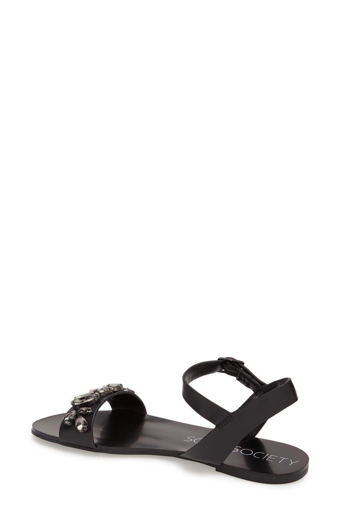 SOLE SOCIETY, 'Gemma' Crystal Ankle Strap Sandal, Alternate thumbnail 3, color, 001