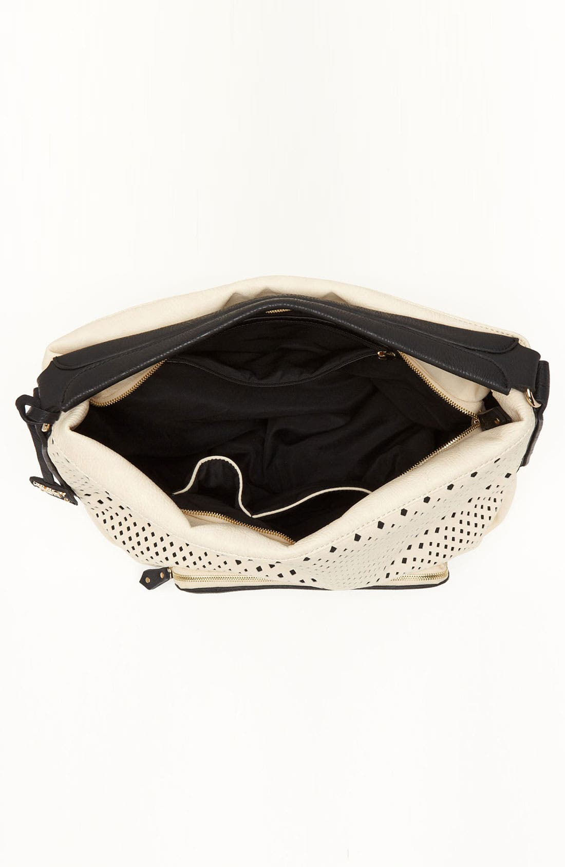 POVERTY FLATS BY RIAN, Perforated Faux Leather Shoulder Bag, Alternate thumbnail 3, color, 001