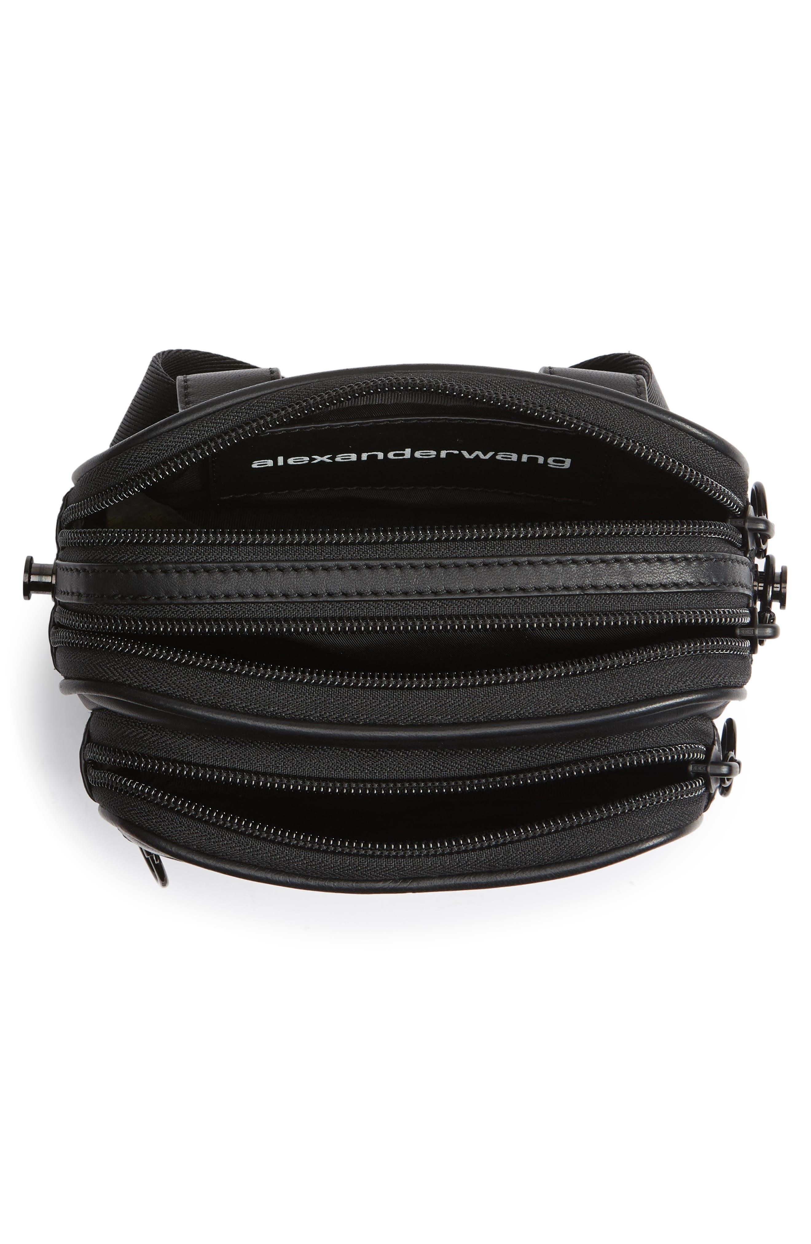 ALEXANDER WANG, Attica Logo Leather Belt Bag, Alternate thumbnail 6, color, BLACK