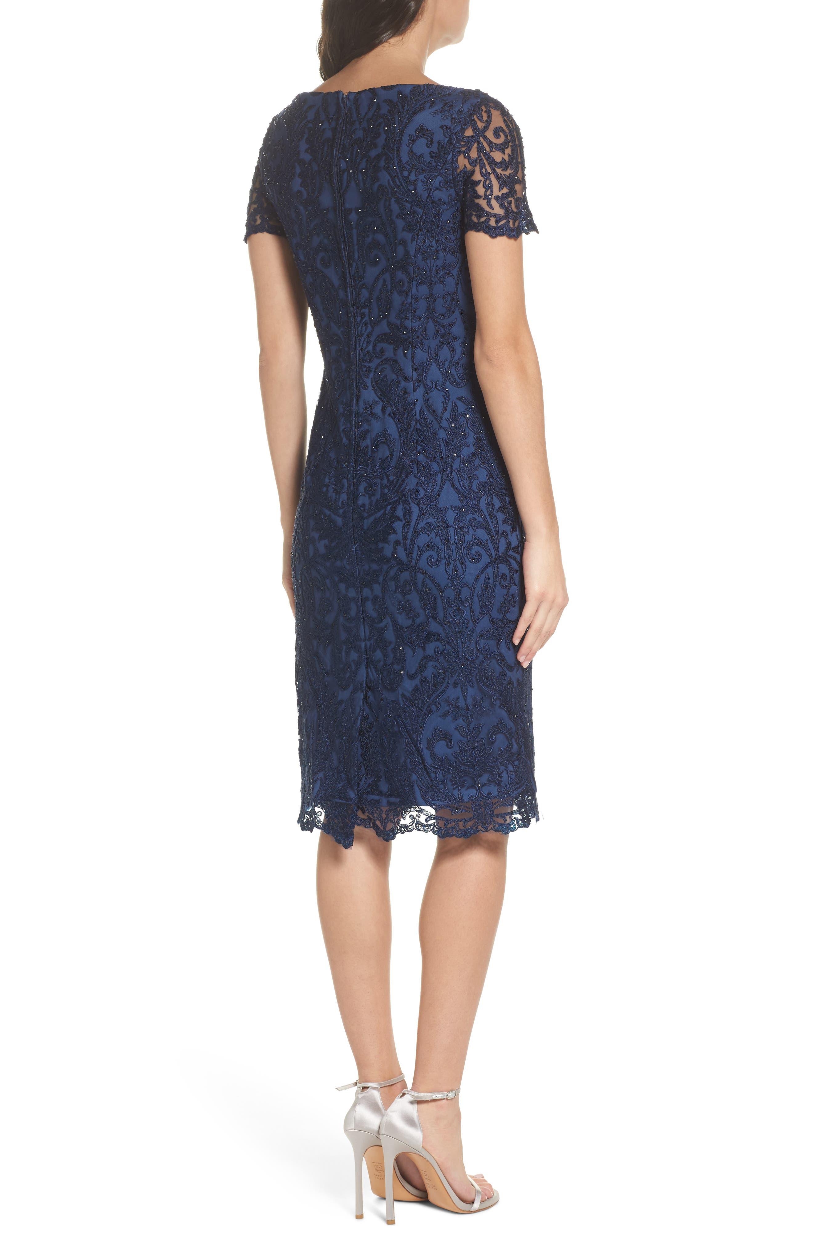 LA FEMME, Beaded Lace Sheath Dress, Alternate thumbnail 2, color, SLATE BLUE