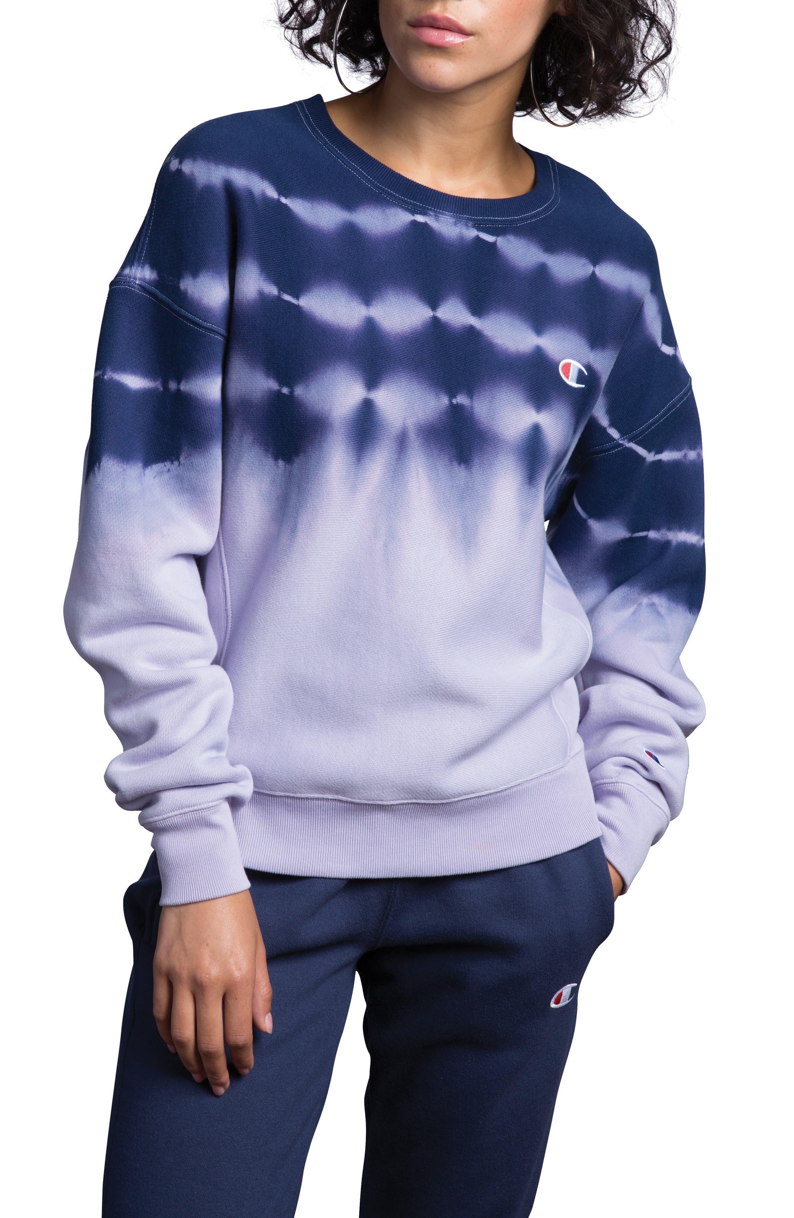 CHAMPION, Streak Dye Sweatshirt, Main thumbnail 1, color, PALE VIOLET ROSE