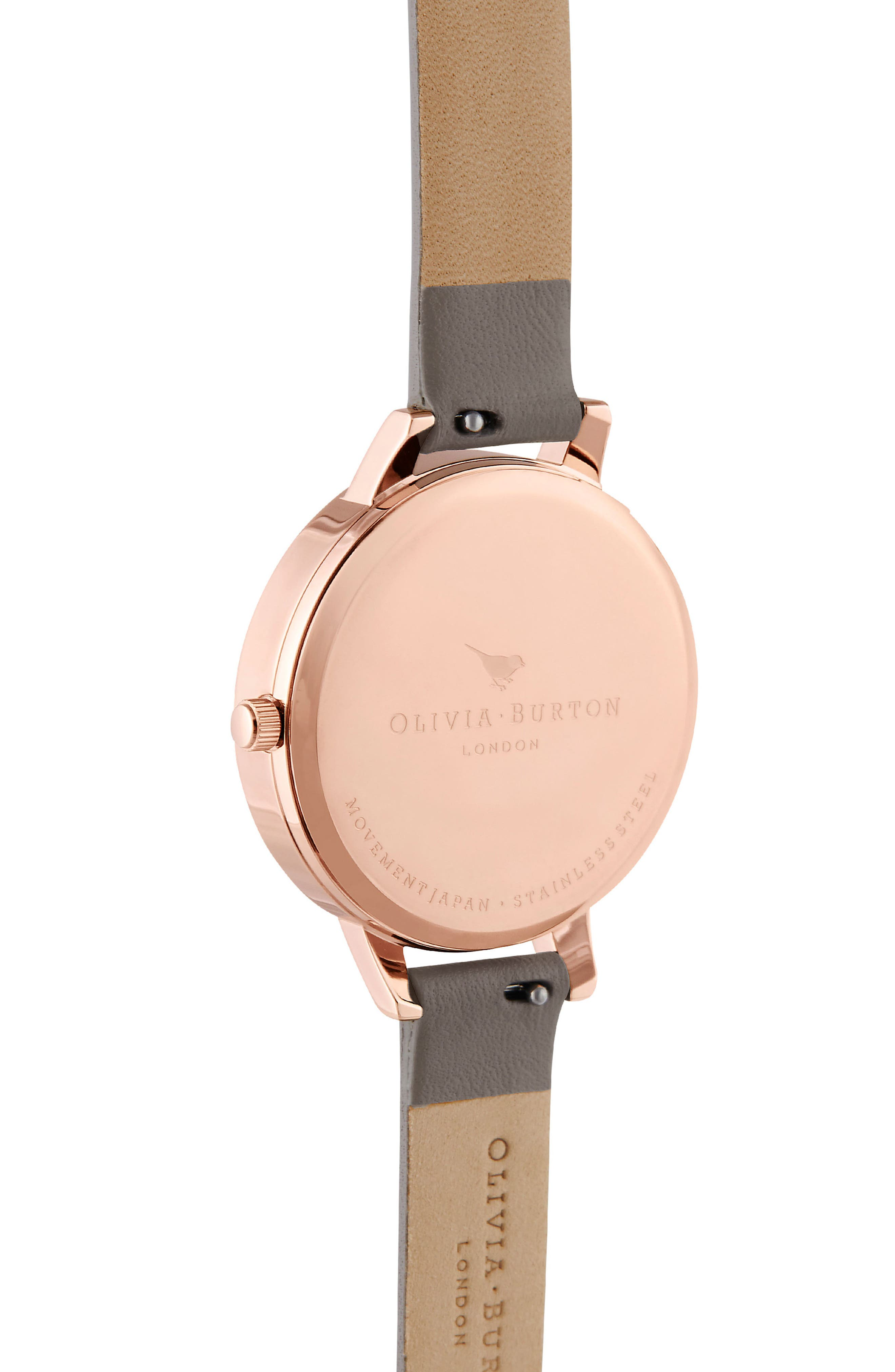 OLIVIA BURTON, Pretty Blossom Leather Strap Watch, 34mm, Alternate thumbnail 3, color, GREY / WHITE/ ROSE GOLD