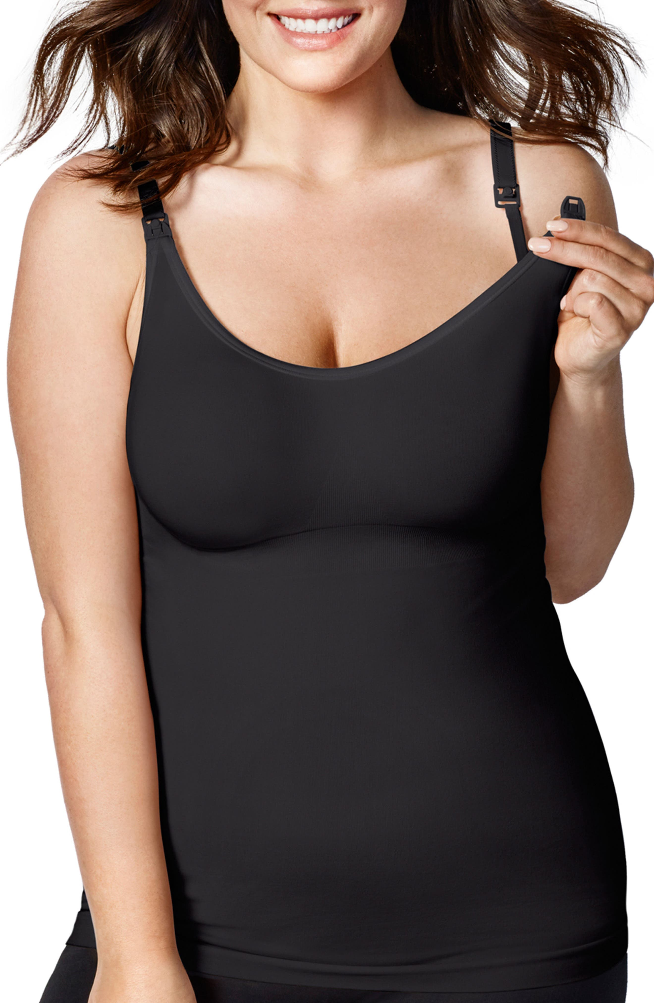 BRAVADO MATERNITY, Bravado Designs Body Silk Seaming Maternity/Nursing Camisole, Main thumbnail 1, color, BLACK