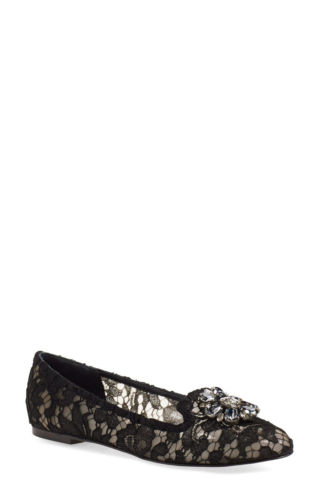 DOLCE&GABBANA Crystal & Lace Pointy Toe Flat, Main, color, 001