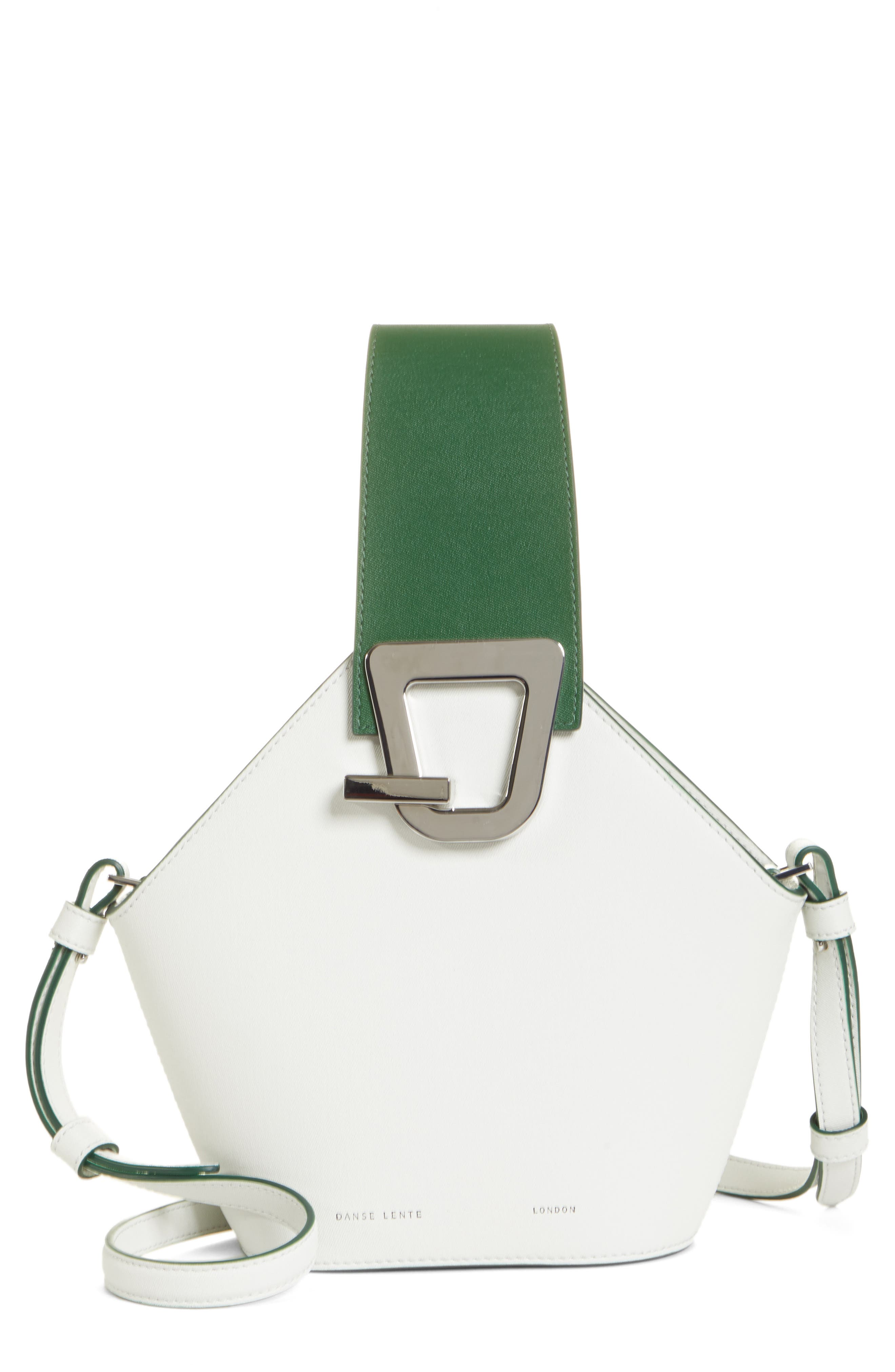 DANSE LENTE, Mini Johnny Leather Bucket Bag, Main thumbnail 1, color, MOONSEED