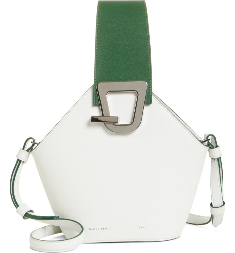 Danse Lente MINI JOHNNY LEATHER BUCKET BAG - WHITE
