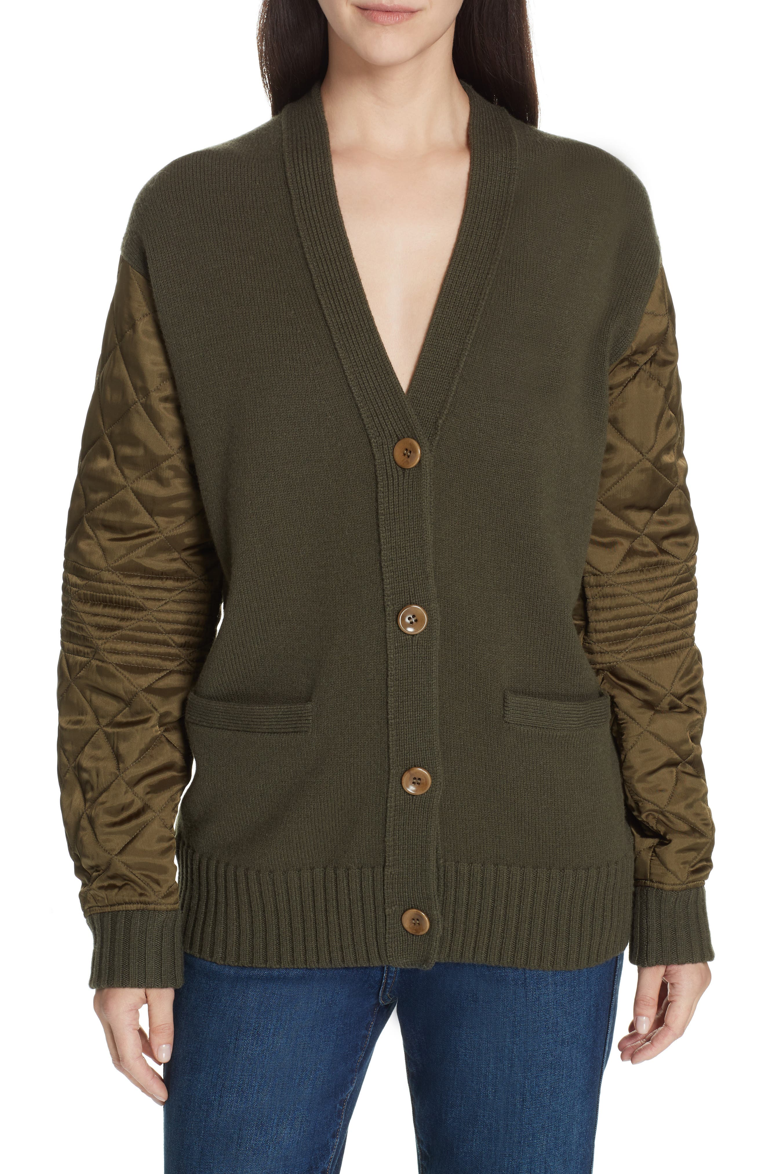 PROENZA SCHOULER, PSWL Quilted Sleeve Merino Wool Cardigan, Main thumbnail 1, color, FOREST