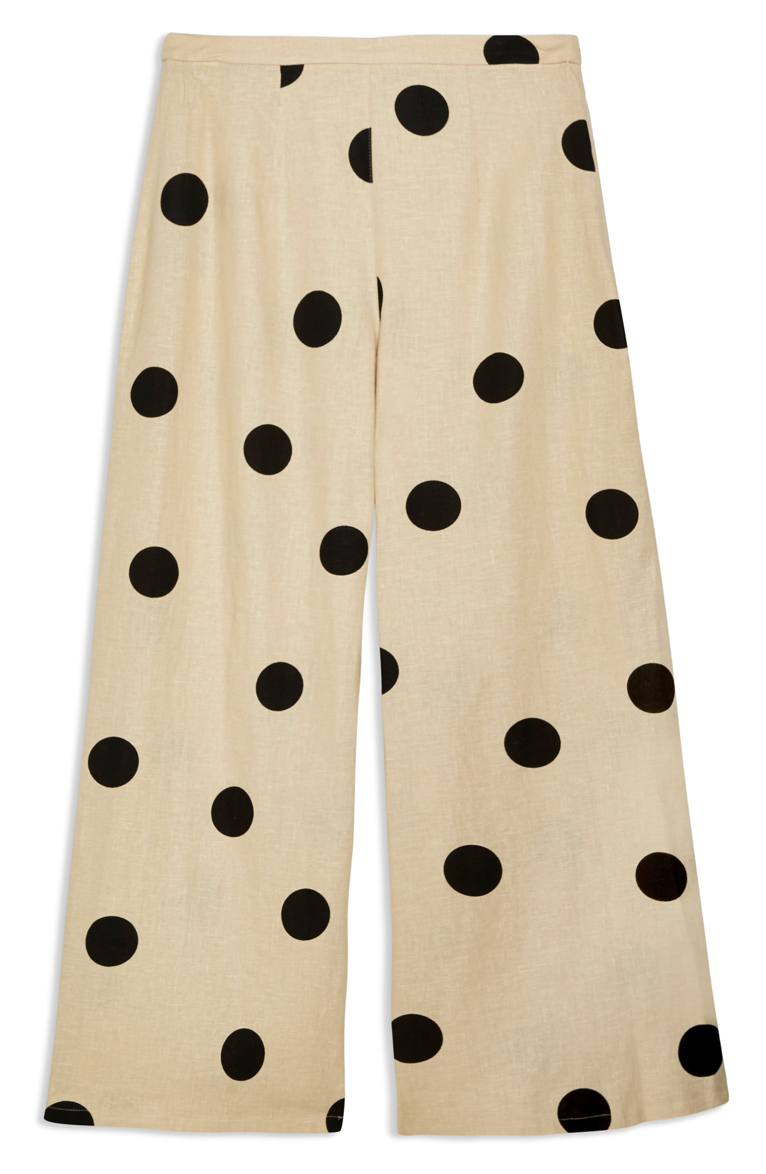 TOPSHOP, Lulu Spot Cropped Wide Leg Pants, Alternate thumbnail 3, color, 250