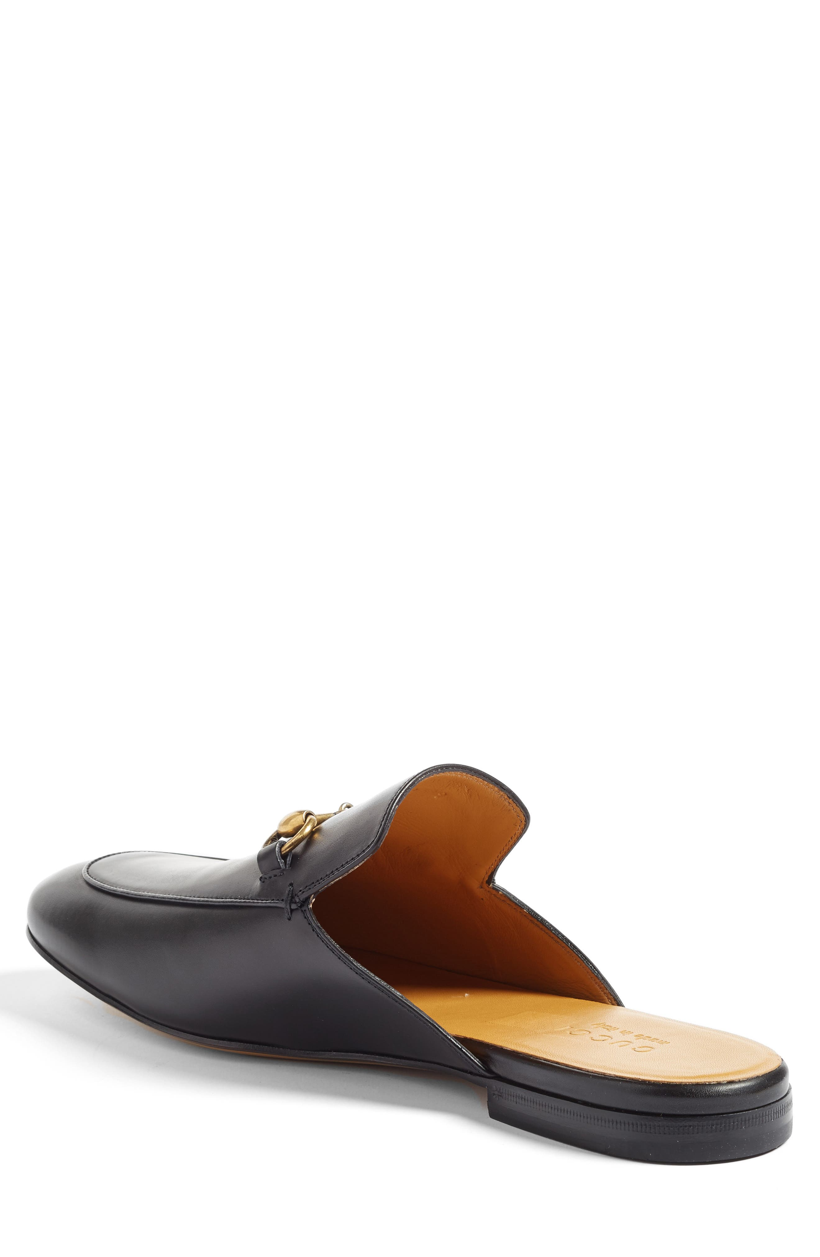 GUCCI, Straw Kings Slipper, Alternate thumbnail 2, color, NERO LEATHER