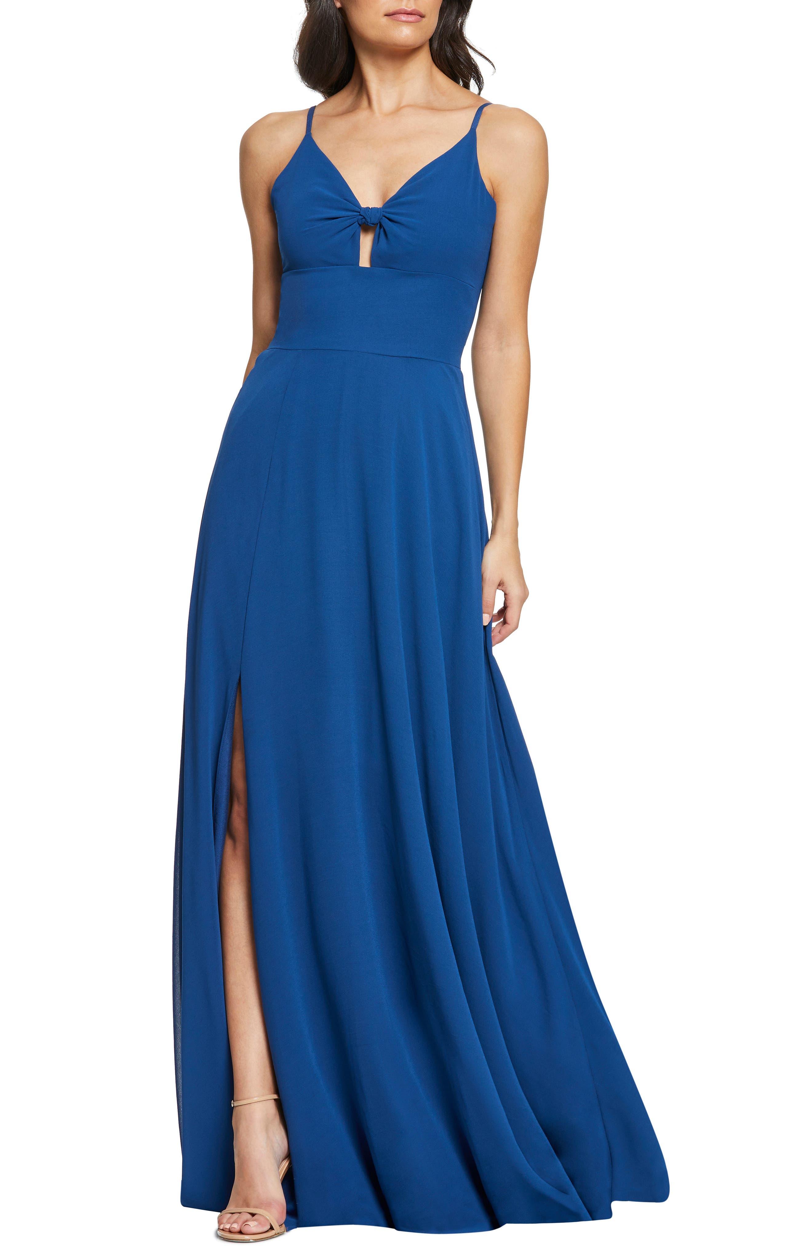 Dress The Population Cambria Tie Bodice Evening Dress, Blue