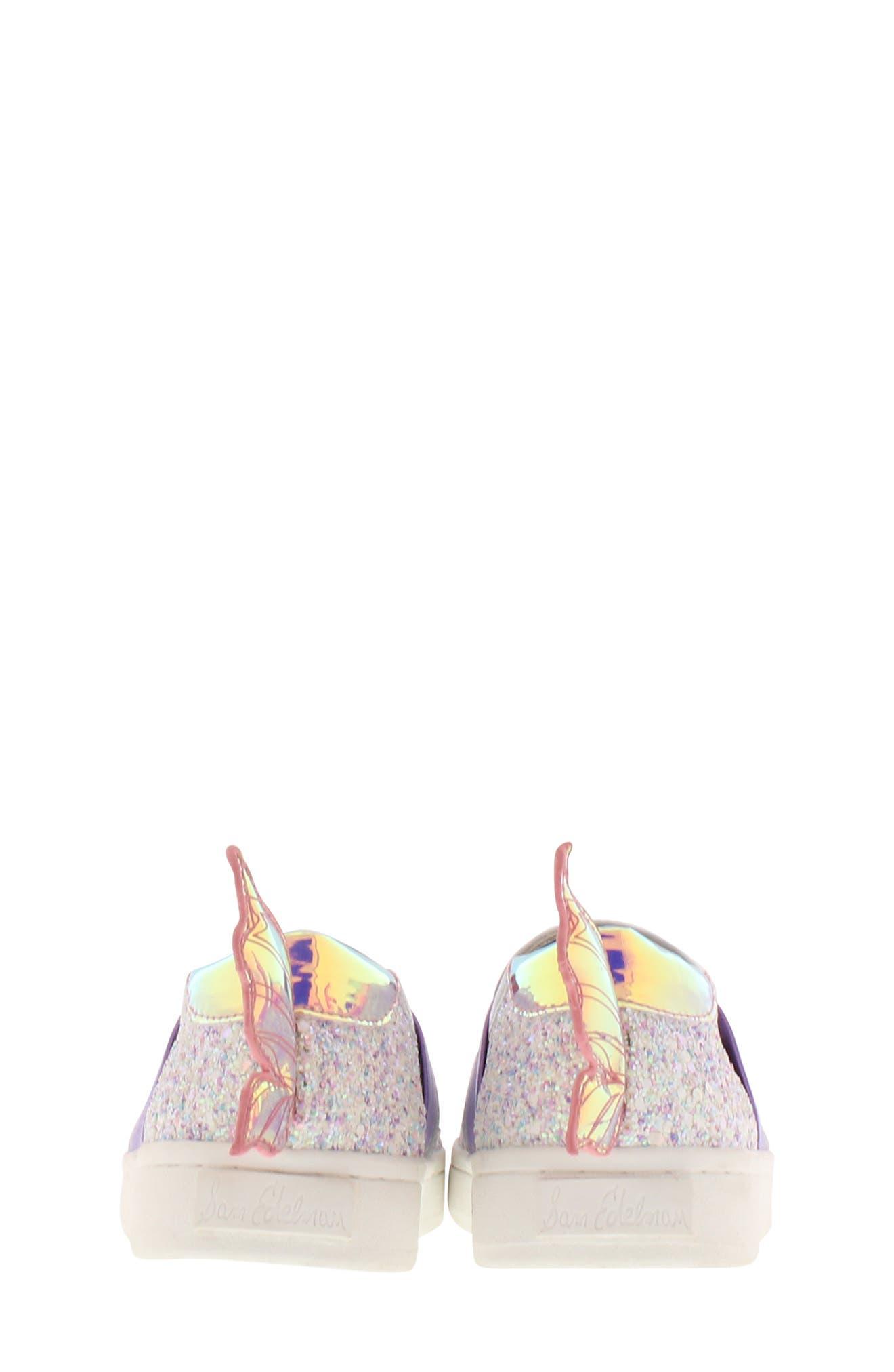 SAM EDELMAN, Blake Lina Fairy Glitter Slip-On Sneaker, Alternate thumbnail 7, color, PINK/ PURPLE
