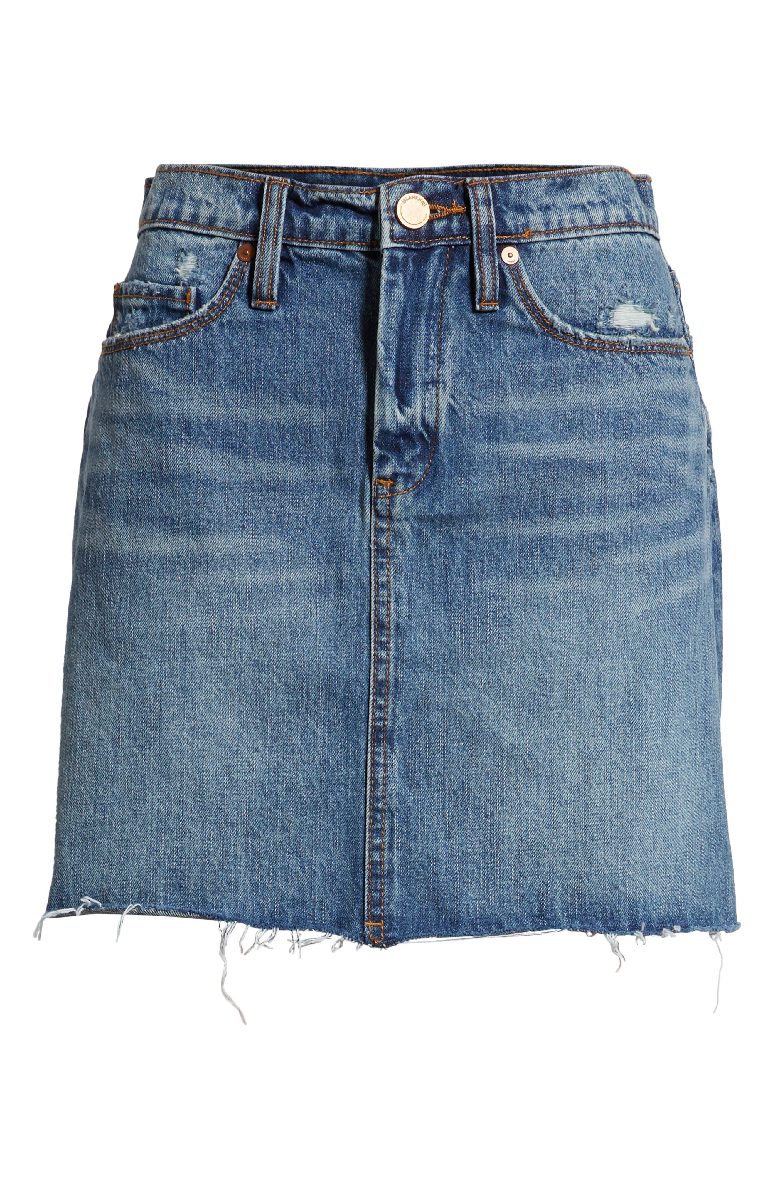 BLANKNYC, Way Back When Cutoff Denim Skirt, Alternate thumbnail 7, color, 400