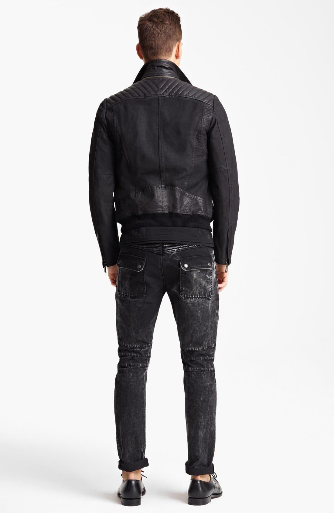 JUST CAVALLI, Leather Moto Jacket, Alternate thumbnail 4, color, 001