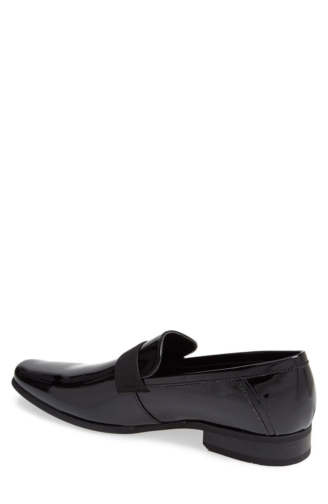 CALVIN KLEIN, 'Bernard' Venetian Loafer, Alternate thumbnail 4, color, BLACK