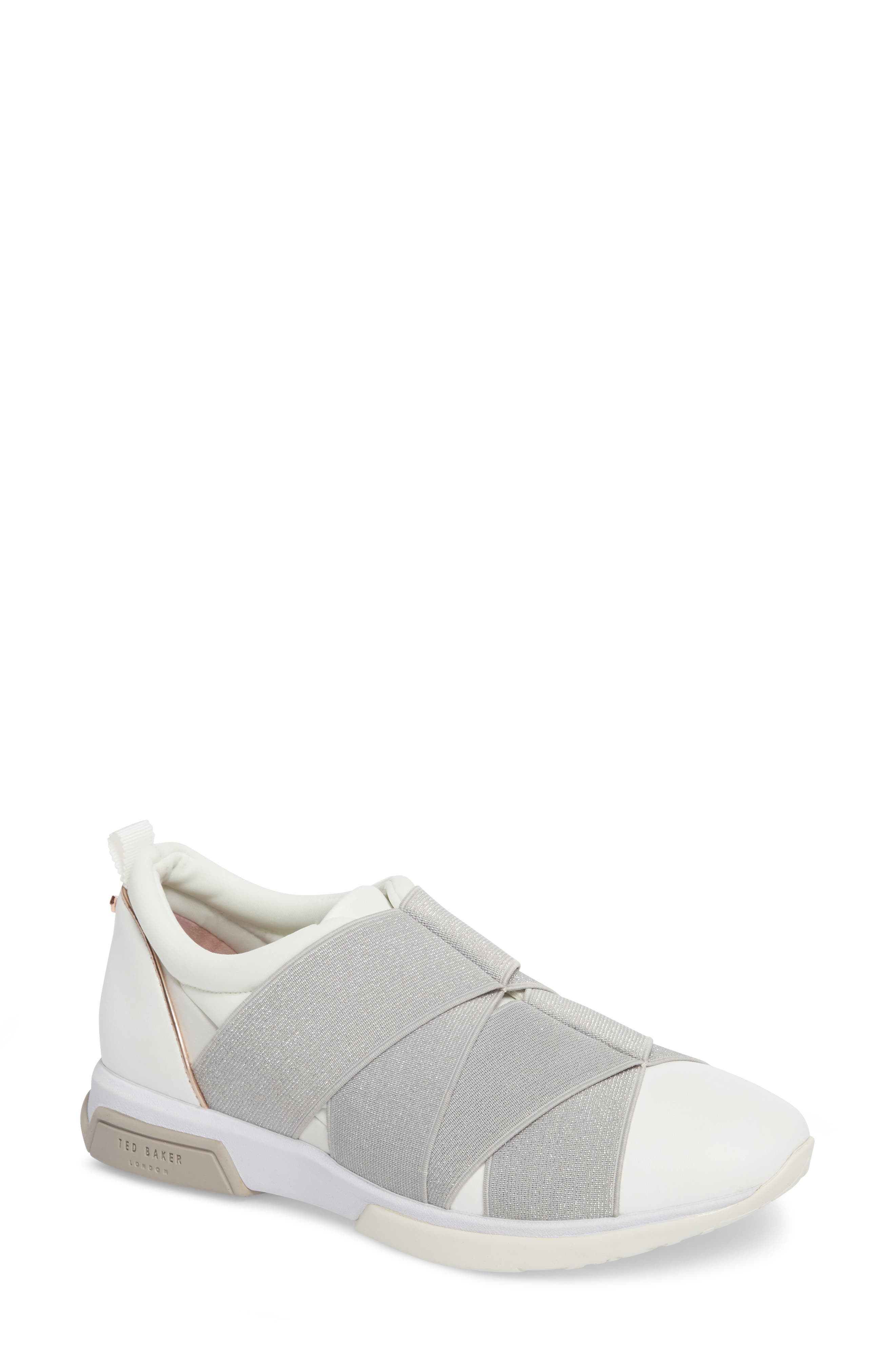 TED BAKER LONDON Queane Sneaker, Main, color, WHITE/ SILVER LEATHER