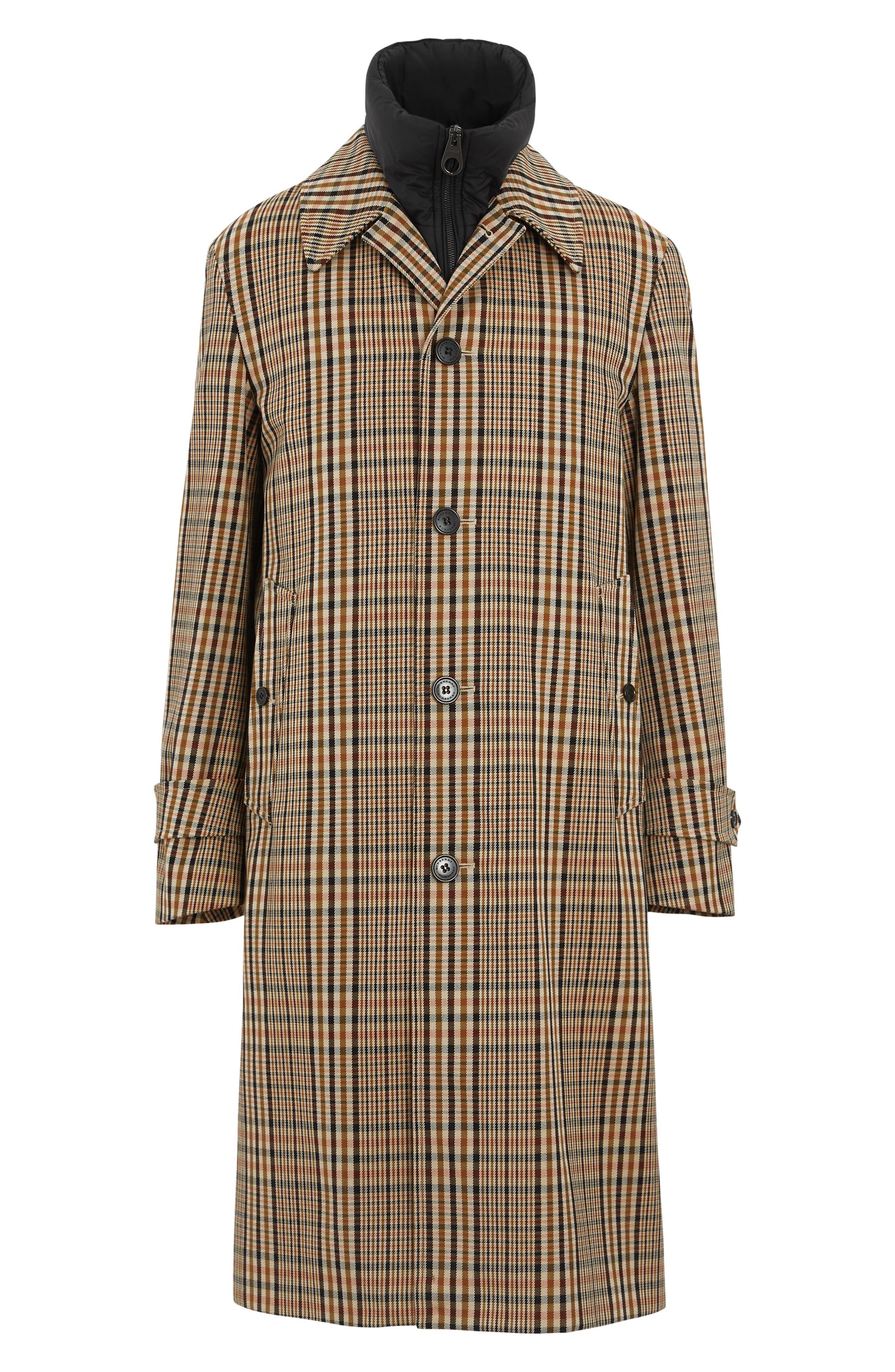 BURBERRY, Lenthorne Check Car Coat with Detachable Vest, Alternate thumbnail 6, color, DARK CAMEL