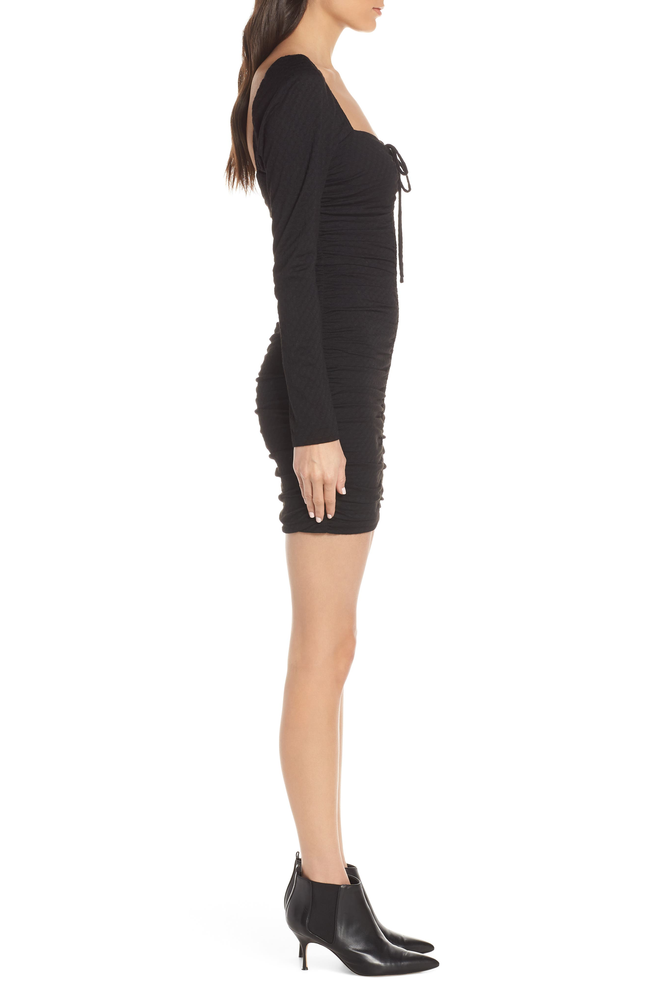 ALI & JAY, Ruched Body-Con Dress, Alternate thumbnail 4, color, BLACK