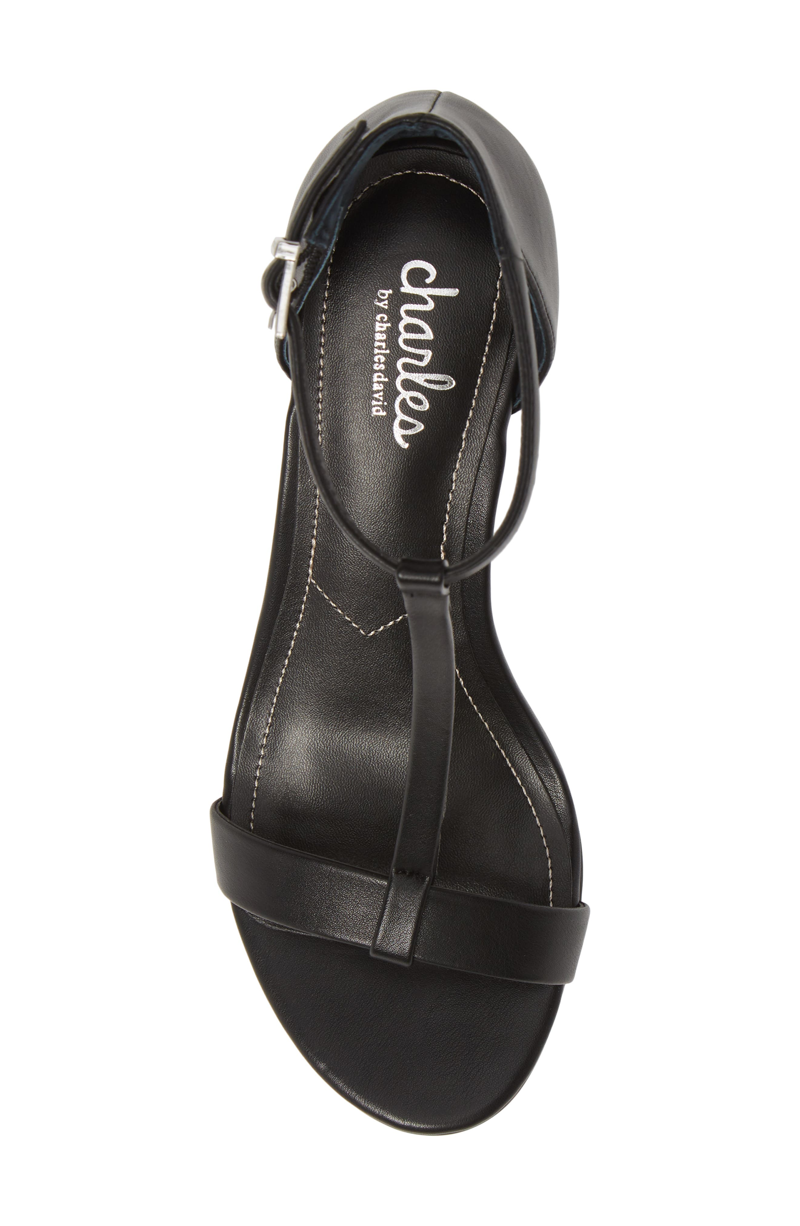 CHARLES BY CHARLES DAVID, Georgette Wedge Sandal, Alternate thumbnail 5, color, BLACK FAUX LEATHER