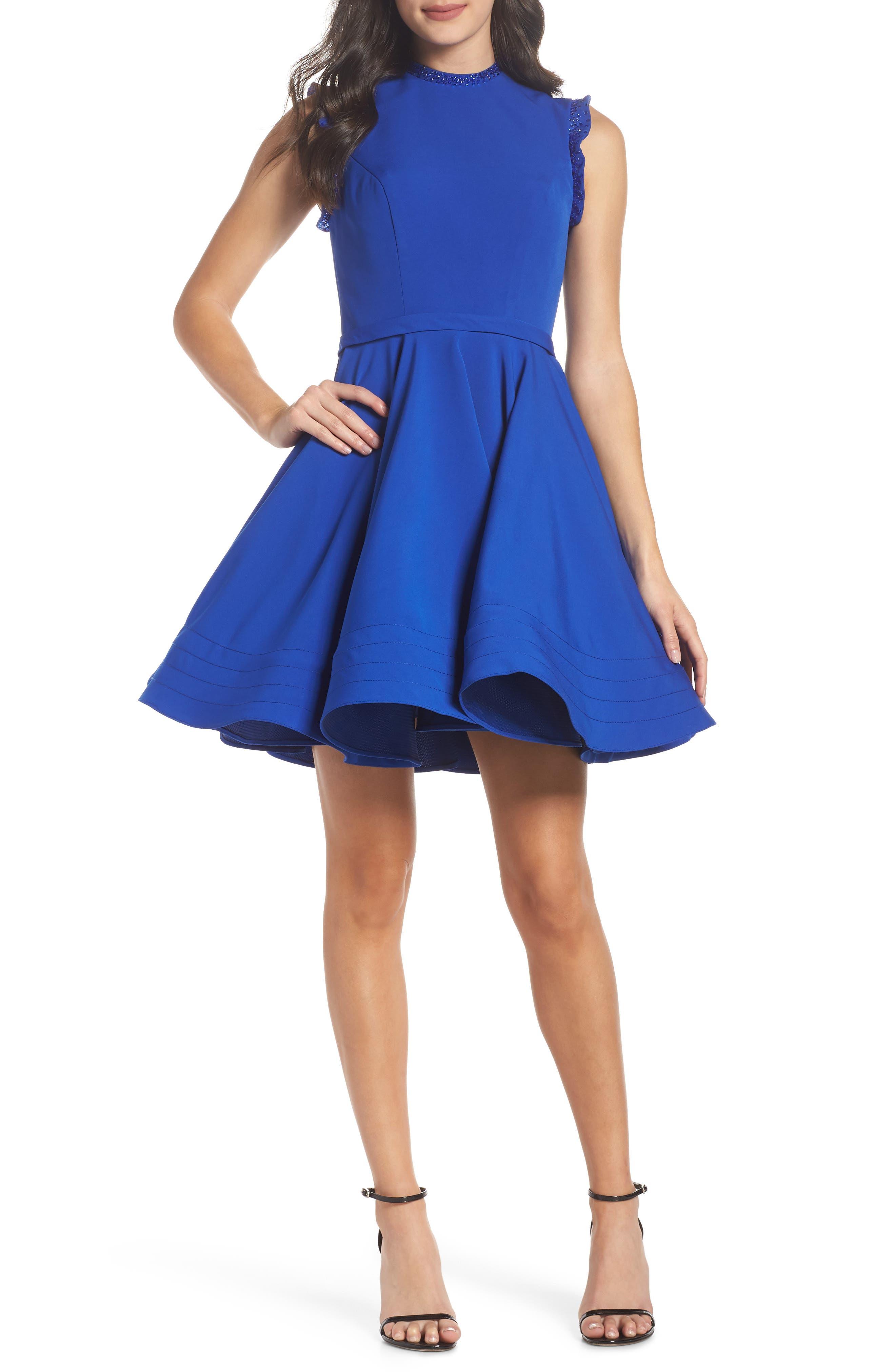 IEENA FOR MAC DUGGAL, Mac Duggal Embellished Ruffle Fit & Flare Dress, Main thumbnail 1, color, ROYAL