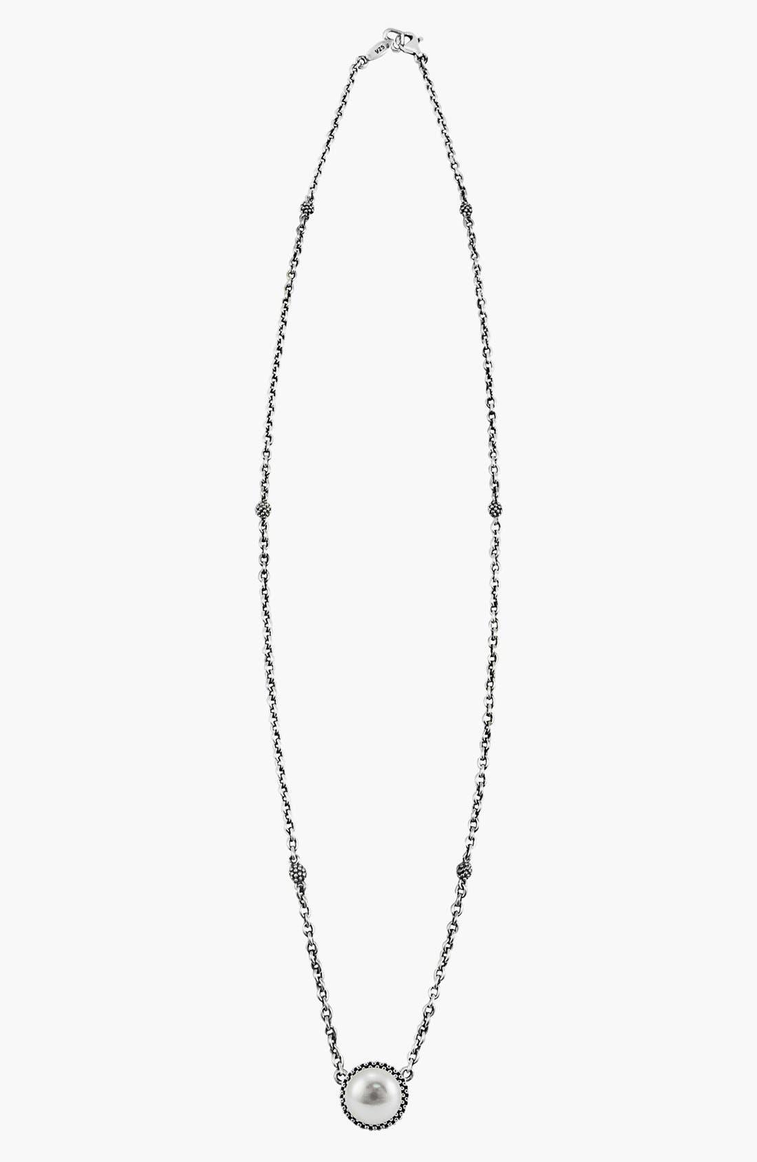 LAGOS, 'Luna' Pearl Pendant Necklace, Alternate thumbnail 7, color, SILVER/ PEARL