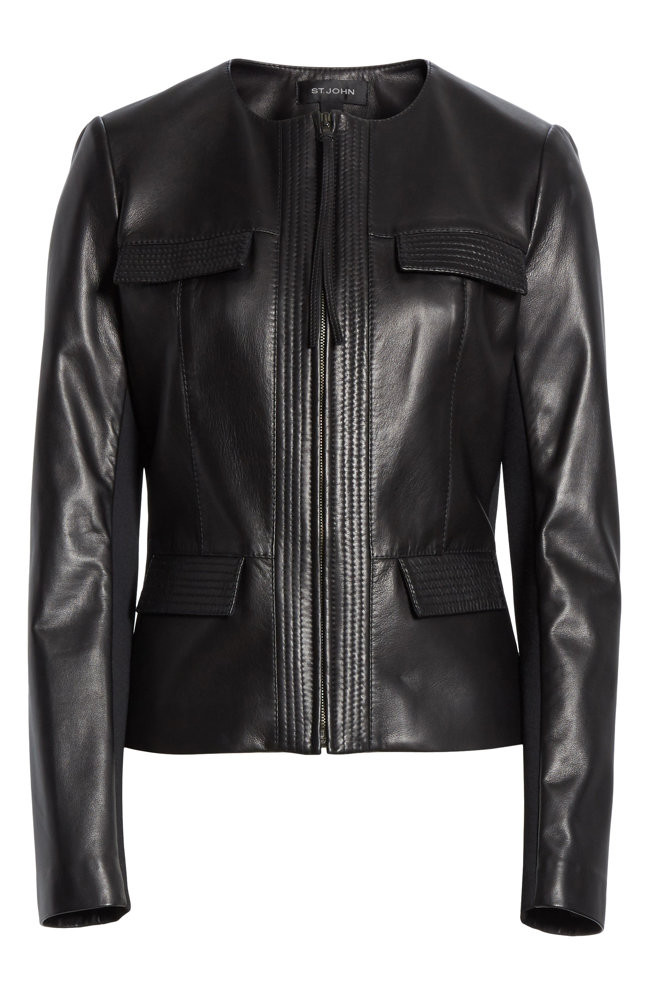 ST. JOHN COLLECTION, Luxe Nappa Leather Jacket, Alternate thumbnail 6, color, CAVIAR