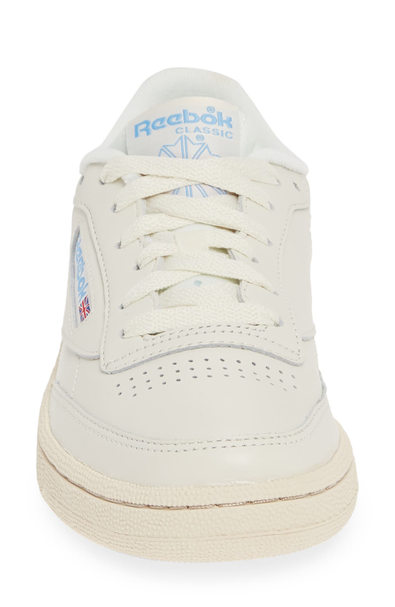 REEBOK, Club C 85 Sneaker, Alternate thumbnail 4, color, CHALK/ PAPERWHITE/ BLUE