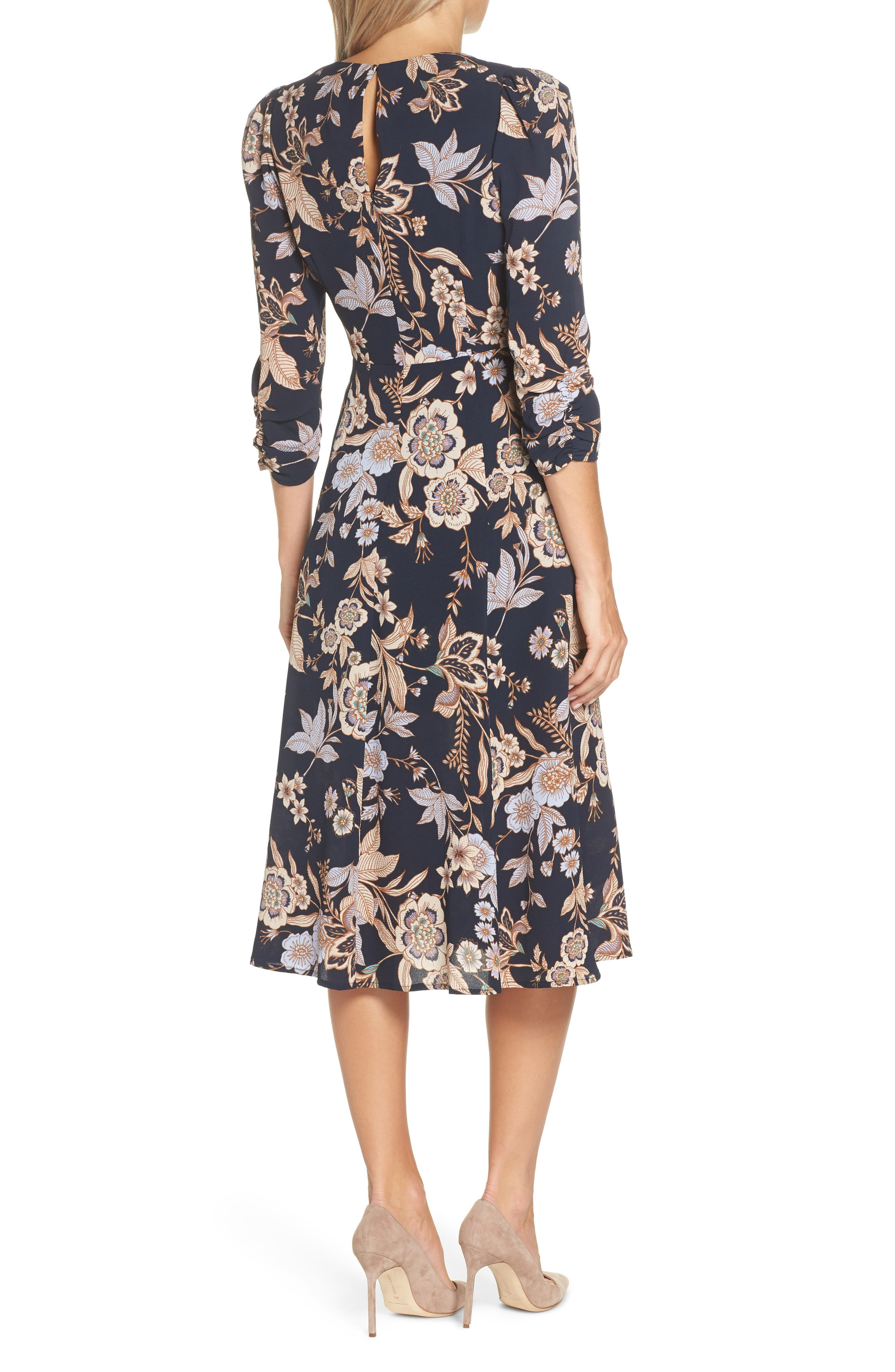 ELIZA J, Floral Midi Dress, Alternate thumbnail 2, color, 410