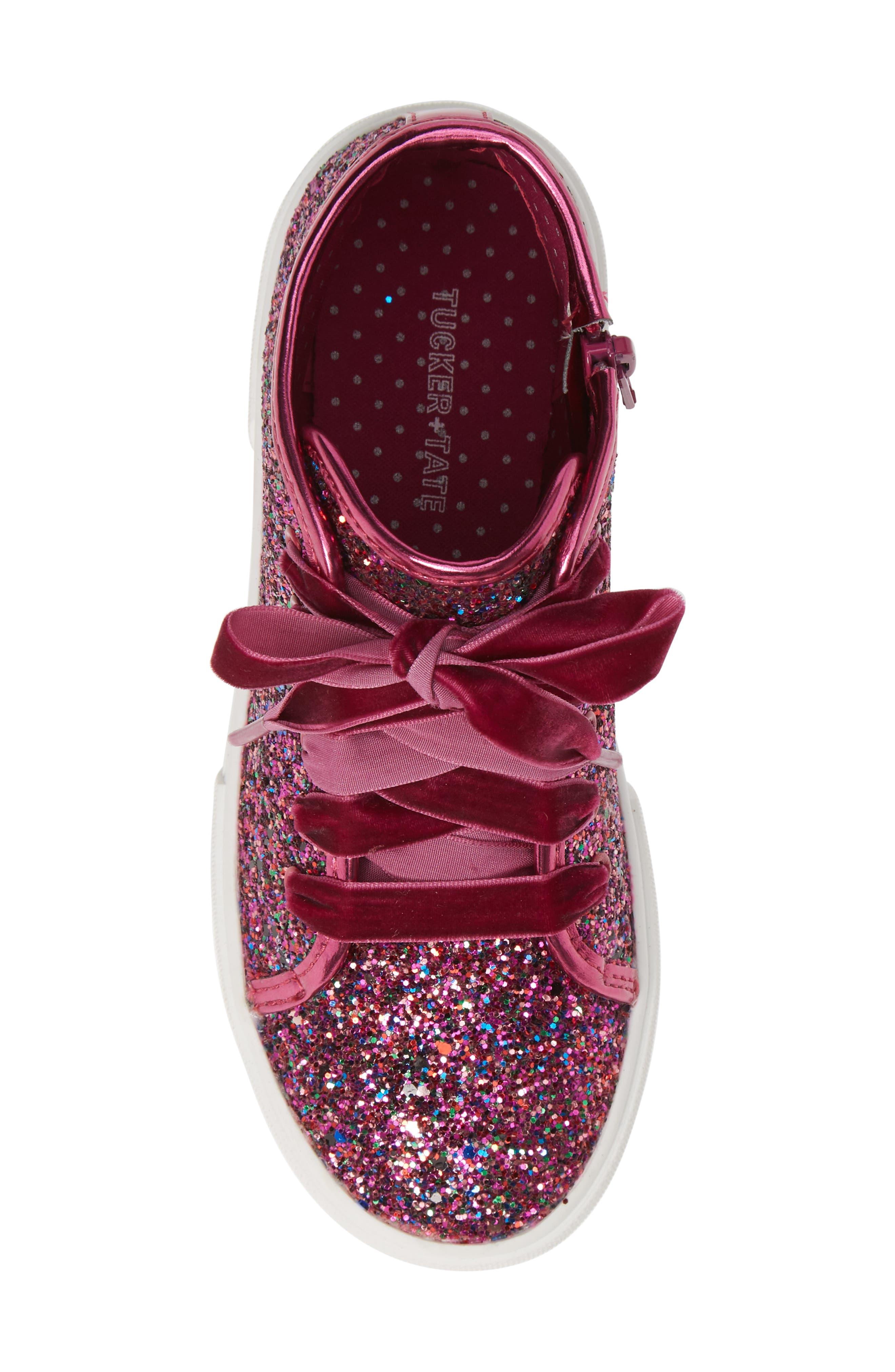 TUCKER + TATE, Skylar Glitter Sneaker, Alternate thumbnail 5, color, FUSCHIA MULTI GLITTER PU