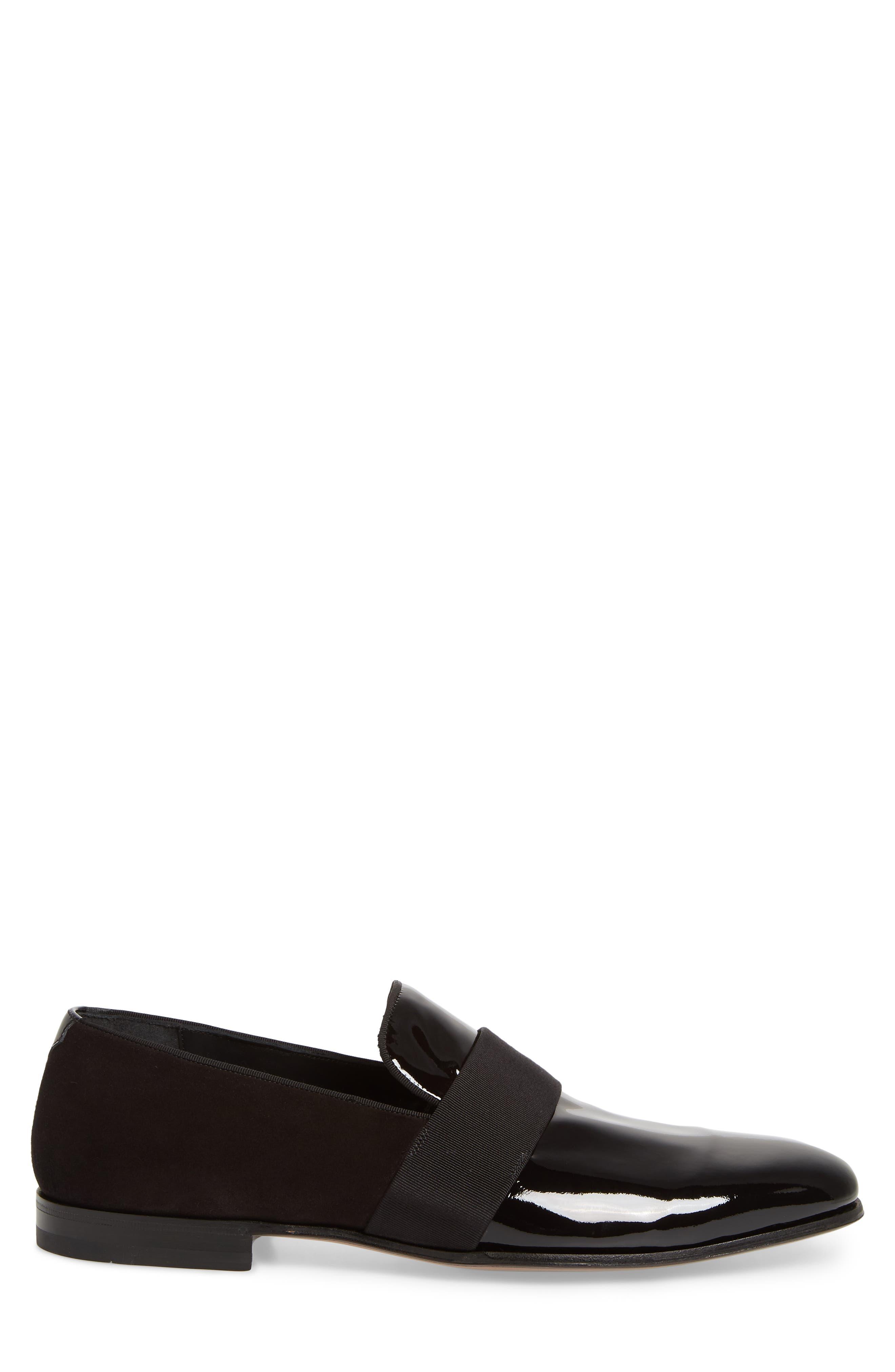 SALVATORE FERRAGAMO, Bryden Banded Loafer, Alternate thumbnail 3, color, NERO
