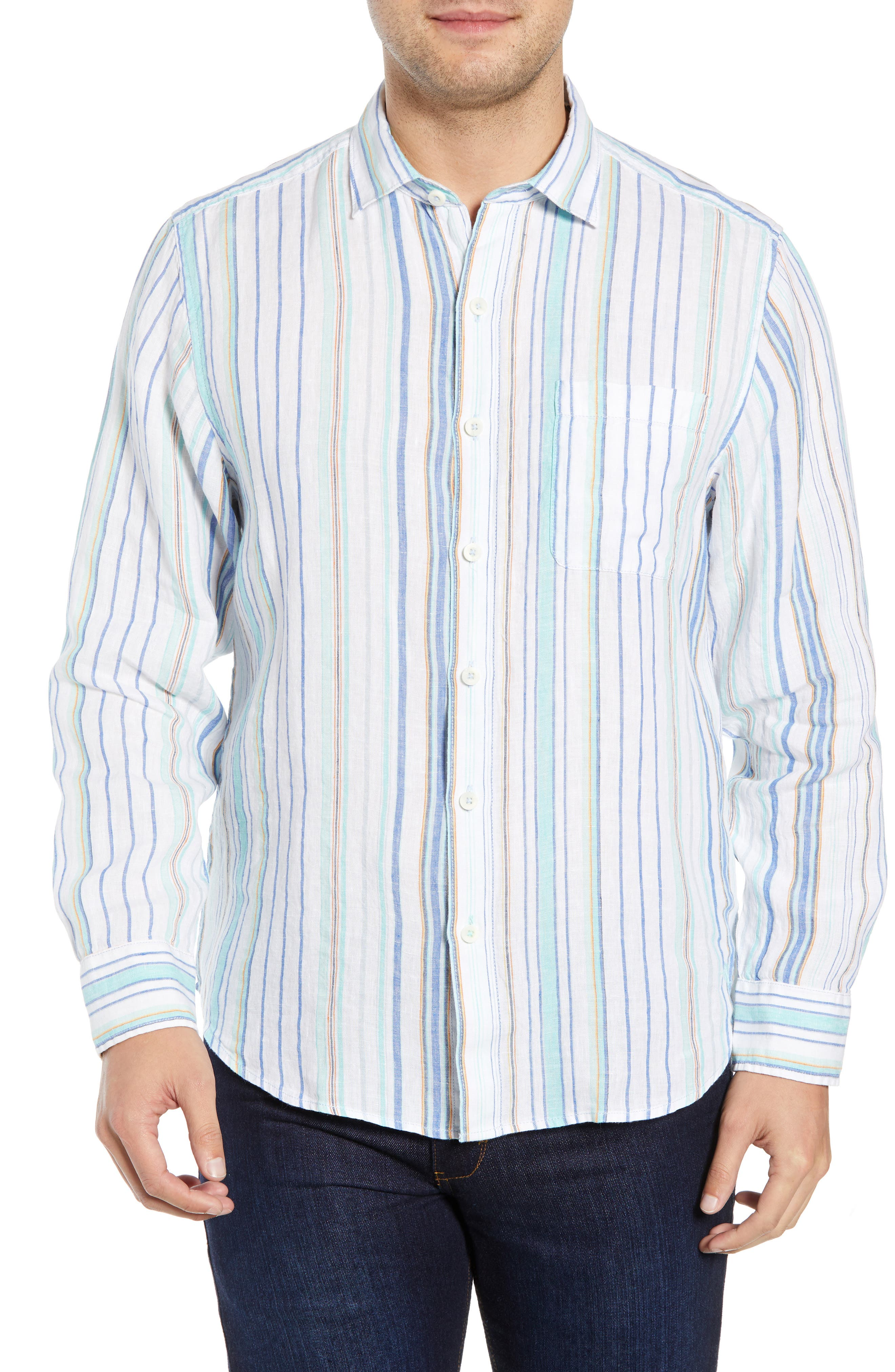 TOMMY BAHAMA Lagoon Stripe Sport Shirt, Main, color, WHITE