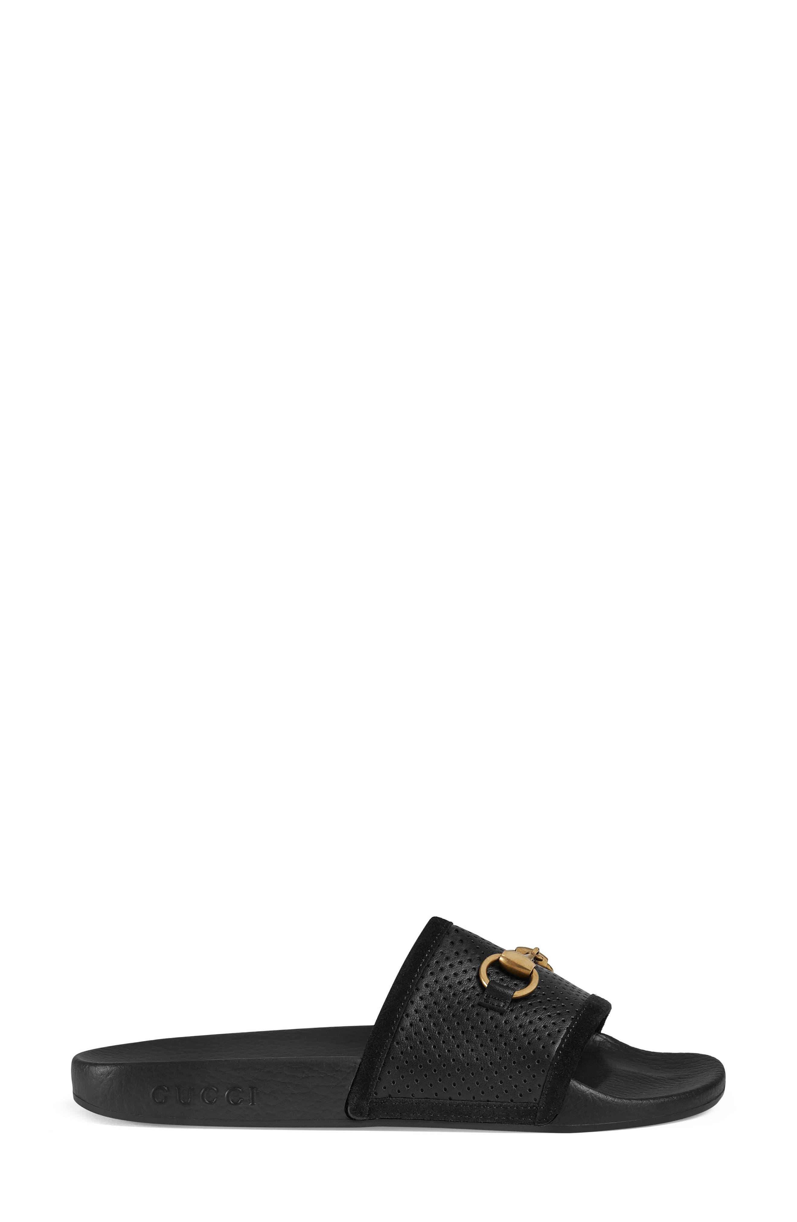 GUCCI, Pursuit Horsebit Slide Sandal, Alternate thumbnail 2, color, 001