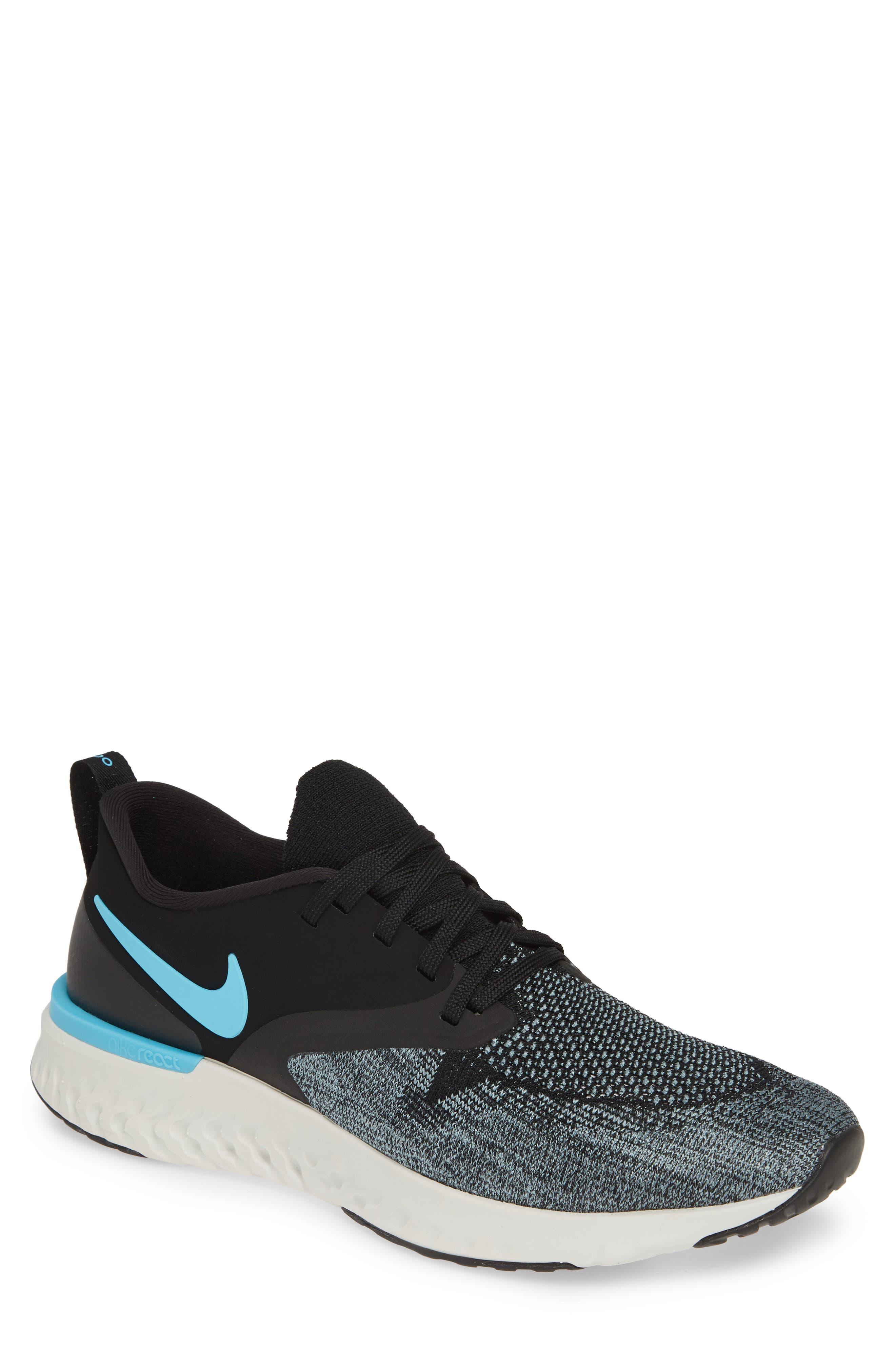NIKE, Odyssey React 2 Flyknit Running Shoe, Main thumbnail 1, color, BLACK/ BLUE FURY/ AVIATOR GREY