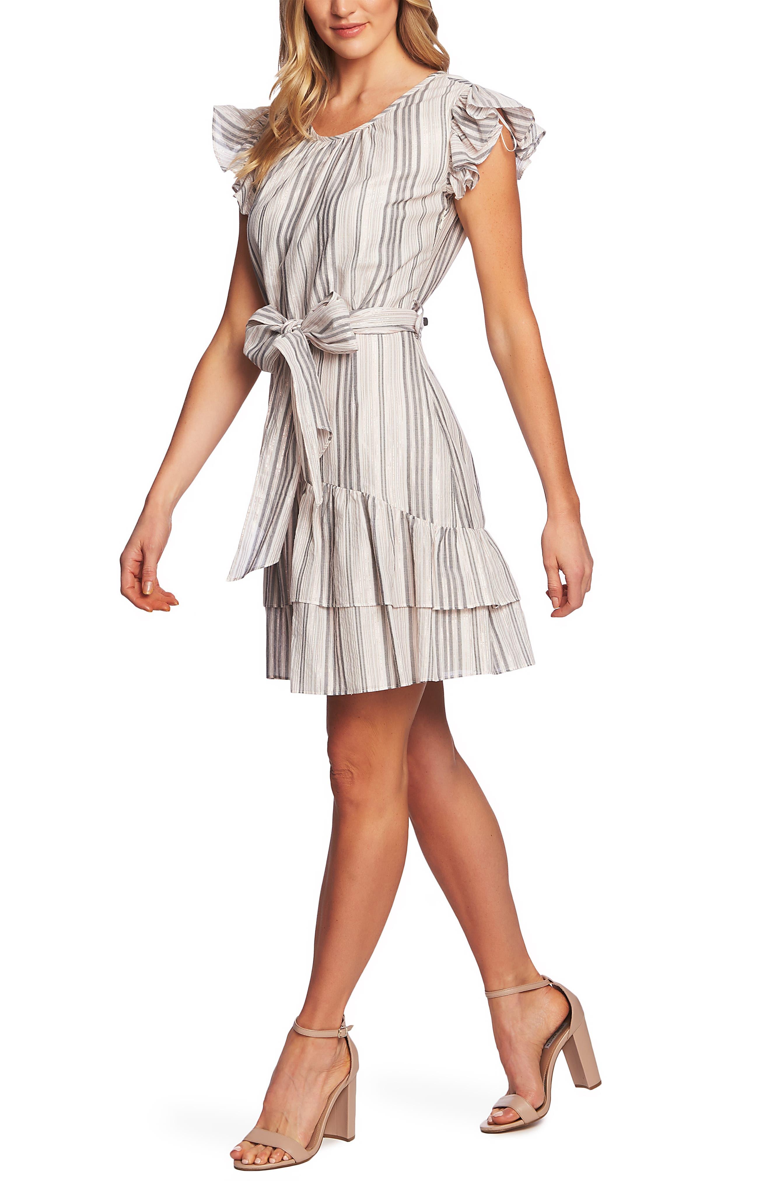 CECE, Ruffle Flutter Sleeve Dress, Alternate thumbnail 4, color, SOFT ECRU