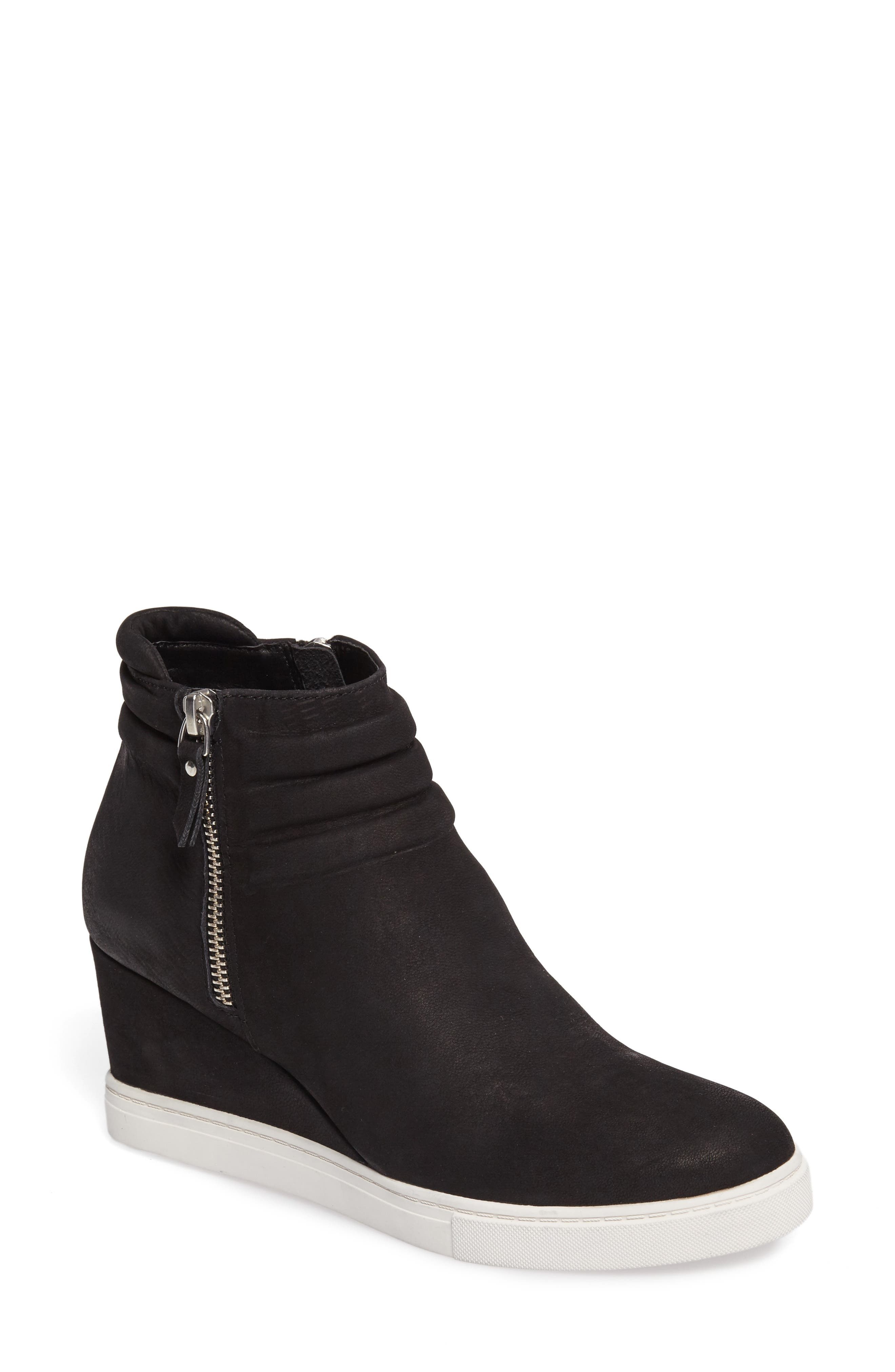 LINEA PAOLO, Frieda Wedge Bootie, Main thumbnail 1, color, BLACK LEATHER