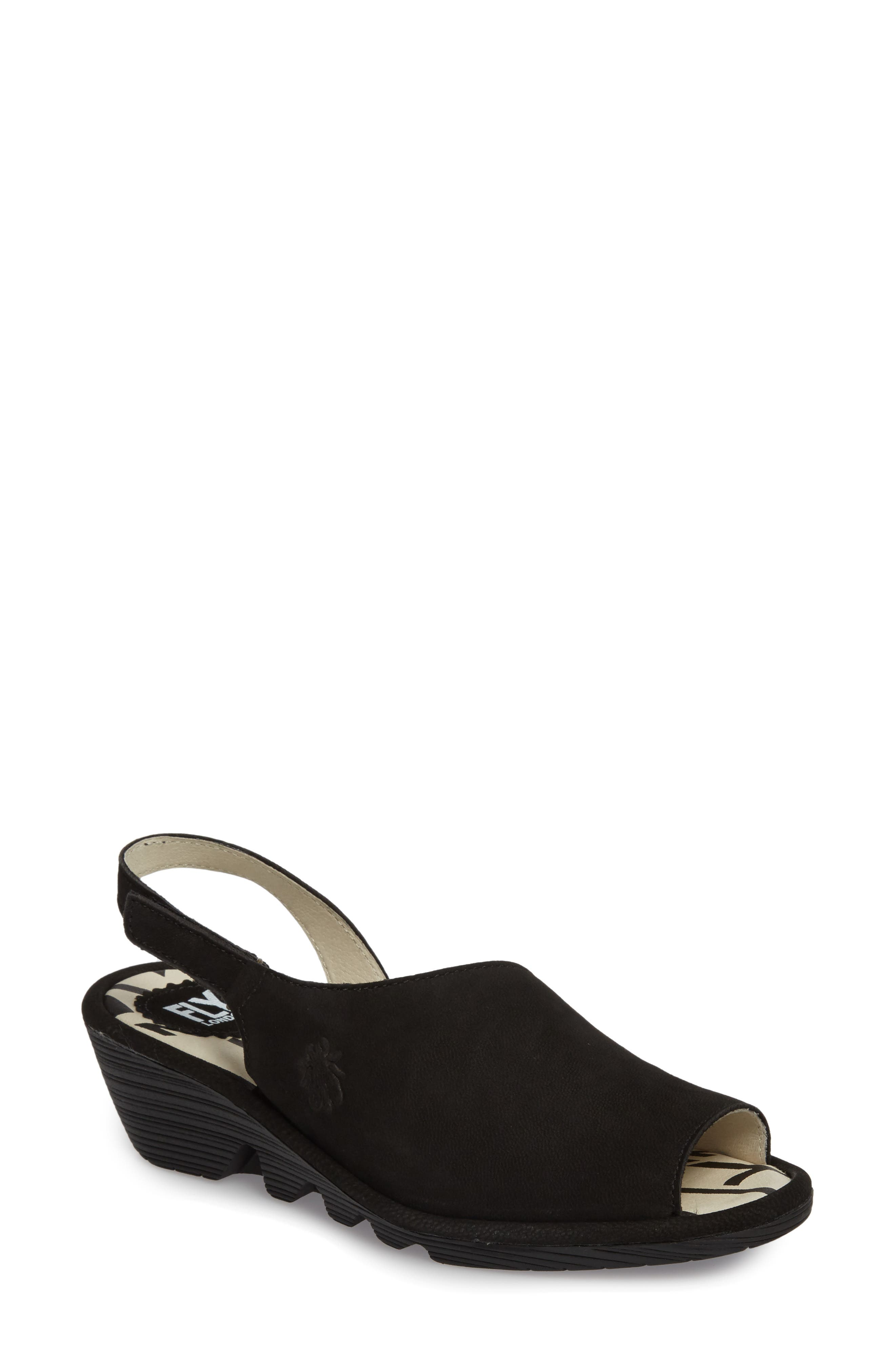FLY LONDON, Palp Wedge Sandal, Main thumbnail 1, color, BLACK CUPIDO LEATHER