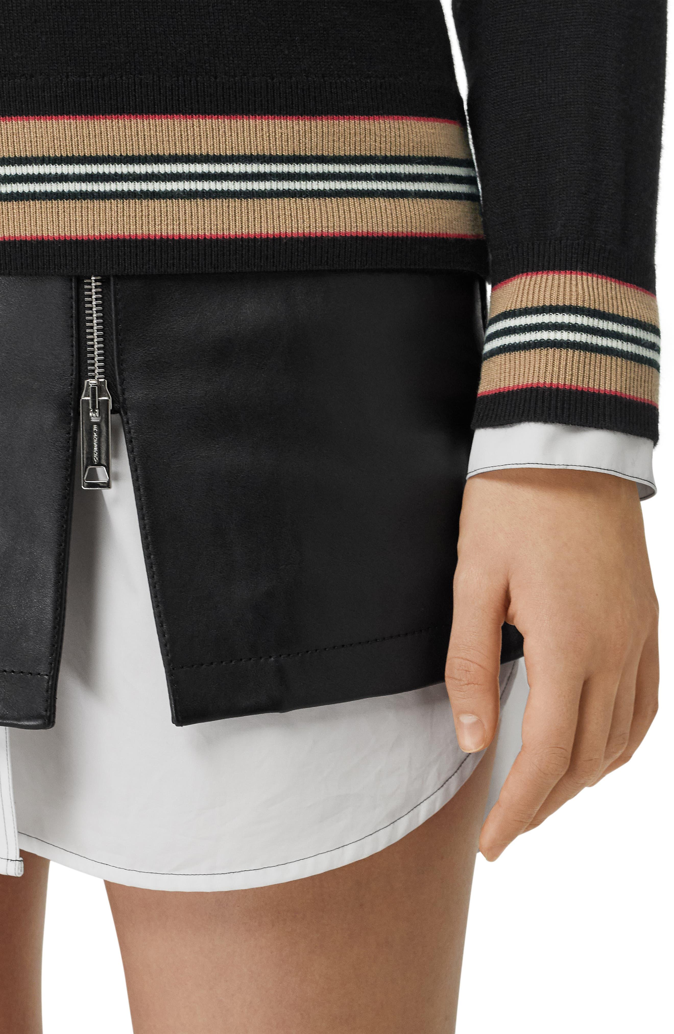 BURBERRY, Stripe Trim Merino Wool Sweater, Alternate thumbnail 3, color, BLACK