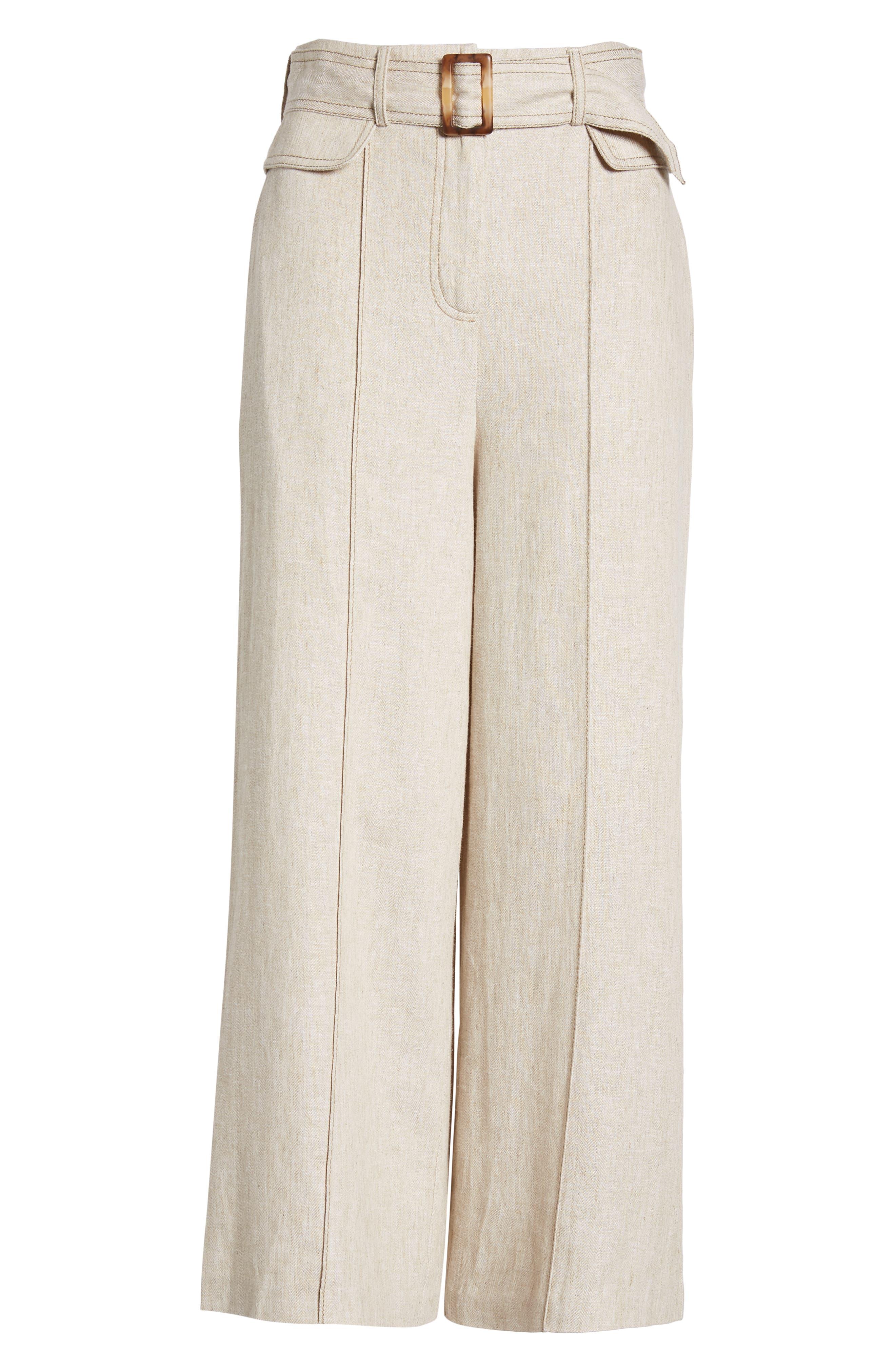 CHRISELLE LIM COLLECTION, Chriselle Lim Toulouse Wide Leg Crop Trousers, Alternate thumbnail 7, color, OATMEAL