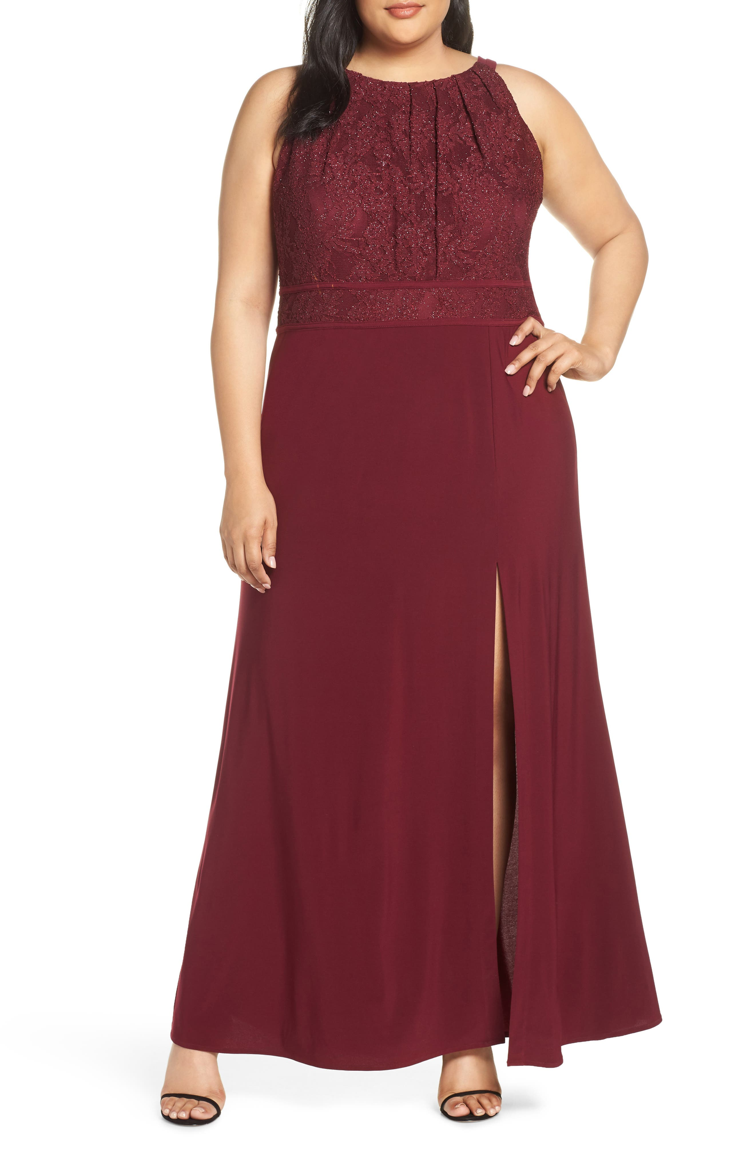 Plus Size Morgan & Co. Pleat Lace Bodice Evening Dress, Burgundy