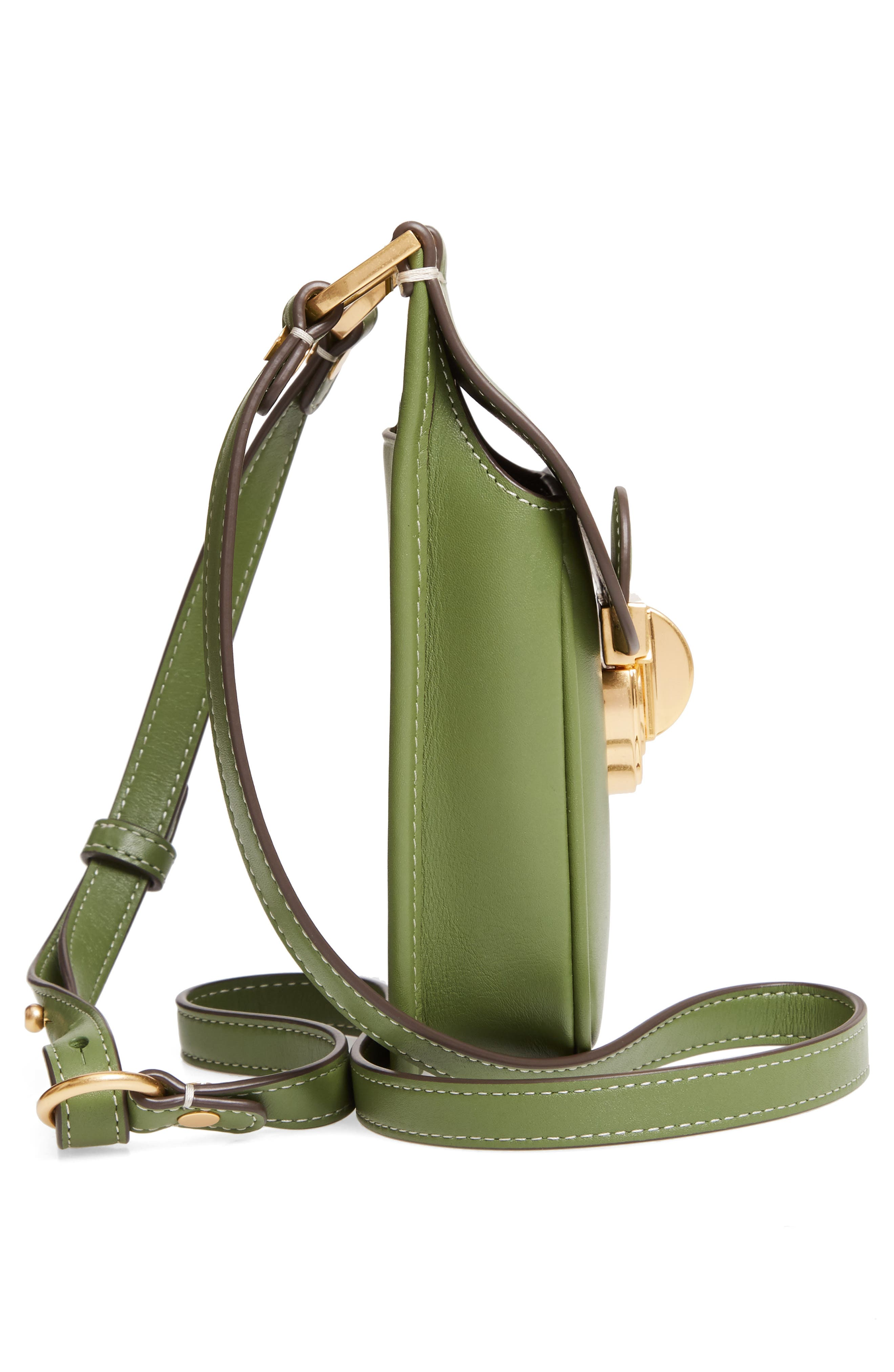 TORY BURCH, James Leather Phone Crossbody Bag, Alternate thumbnail 5, color, SPINACH