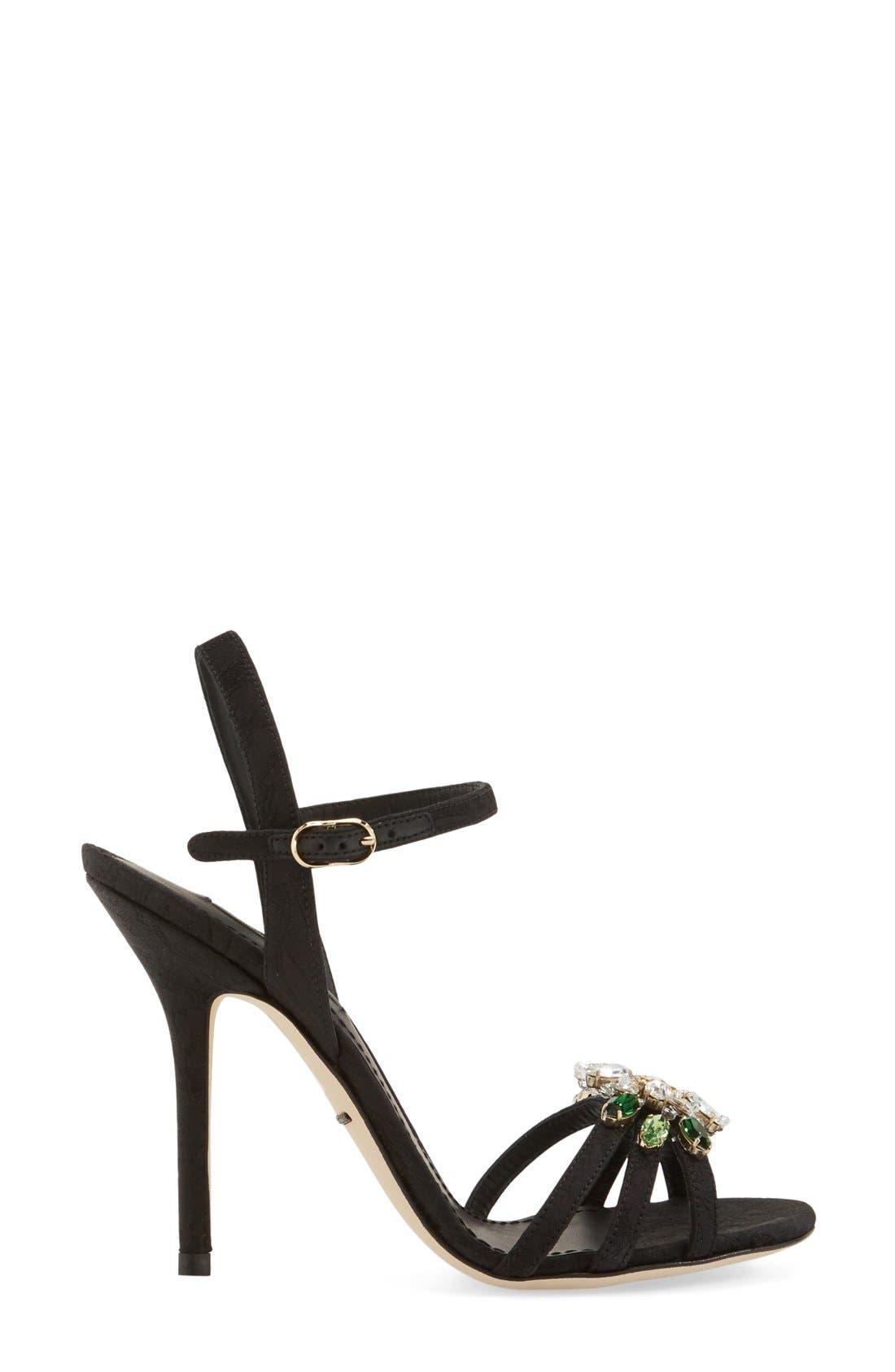 DOLCE&GABBANA, Jeweled Strappy Sandal, Alternate thumbnail 2, color, 001