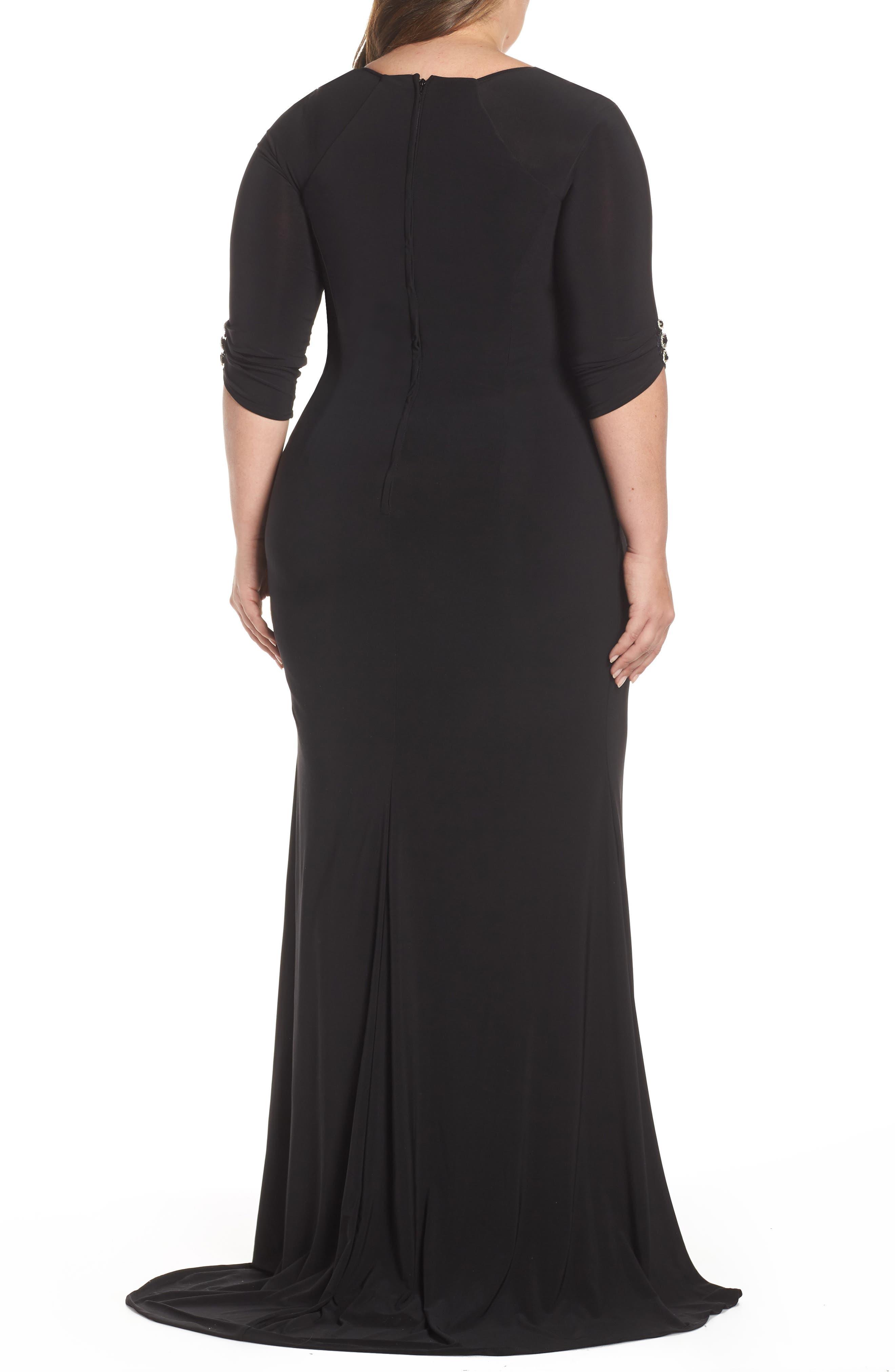 MAC DUGGAL, Crystal Embellished Twist Front Evening Dress, Alternate thumbnail 2, color, BLACK